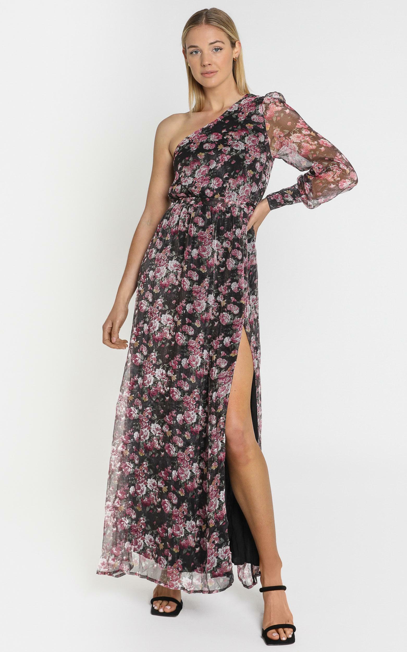 Leona One Shoulder Maxi Dress In romantic black floral - 4 (XXS), Black, hi-res image number null
