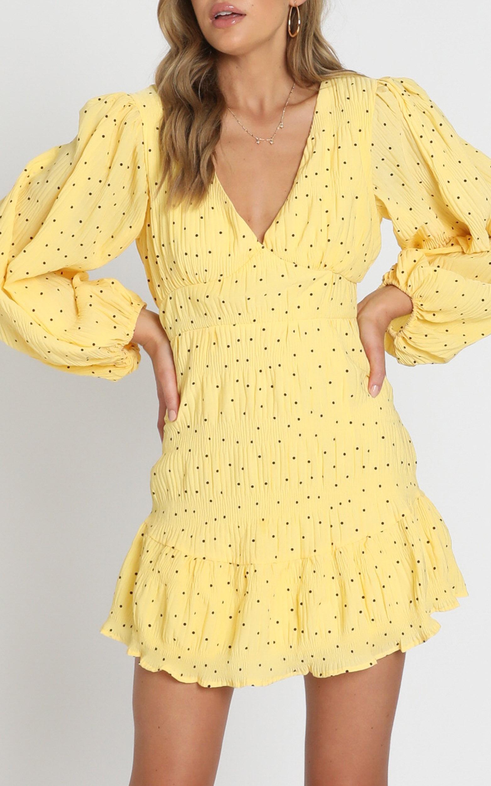 Alberta Dress in yellow spot - 6 (XS), Yellow, hi-res image number null