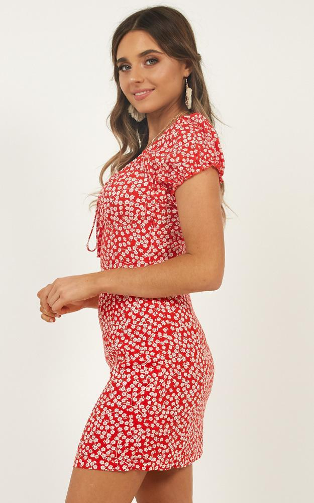 Run This City Dress in red floral - 12 (L), Red, hi-res image number null