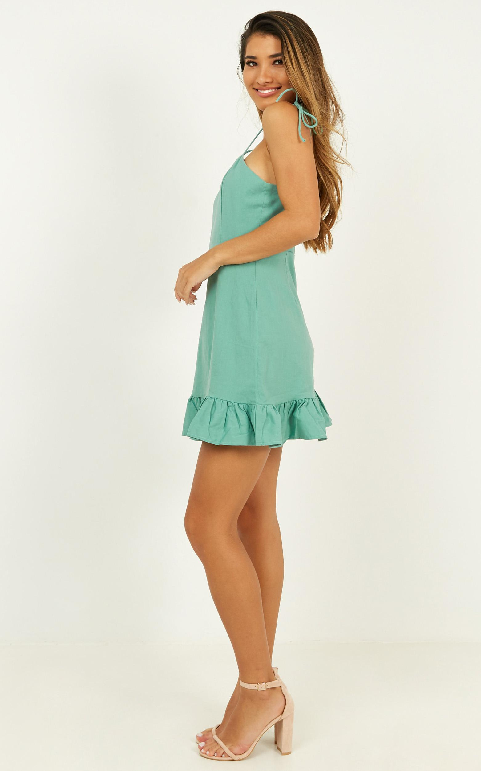 Celebrate The Day dress in sage linen look - 20 (XXXXL), Sage, hi-res image number null