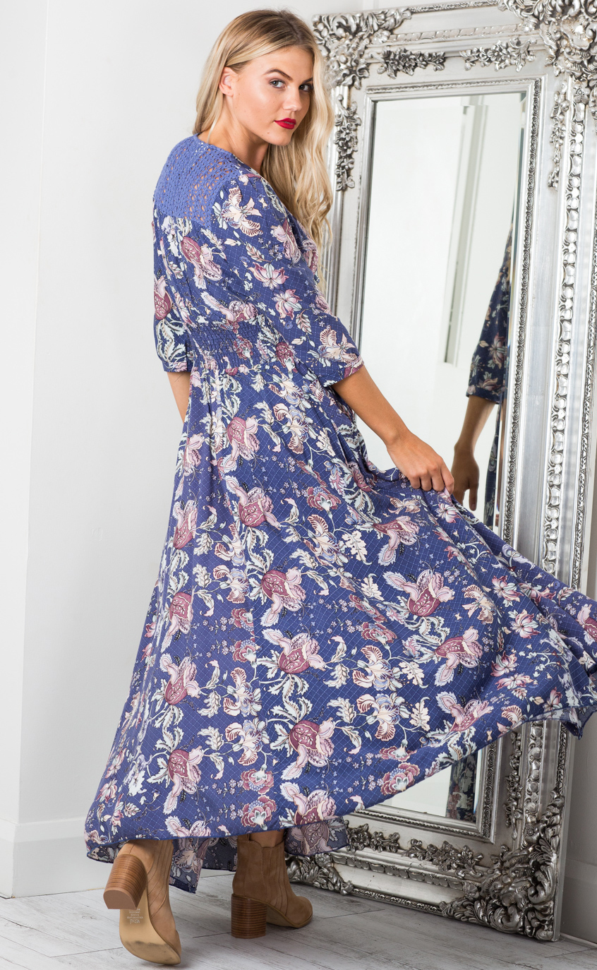 Lone Traveller maxi dress in indigo floral - 6 (XS), Blue, hi-res image number null