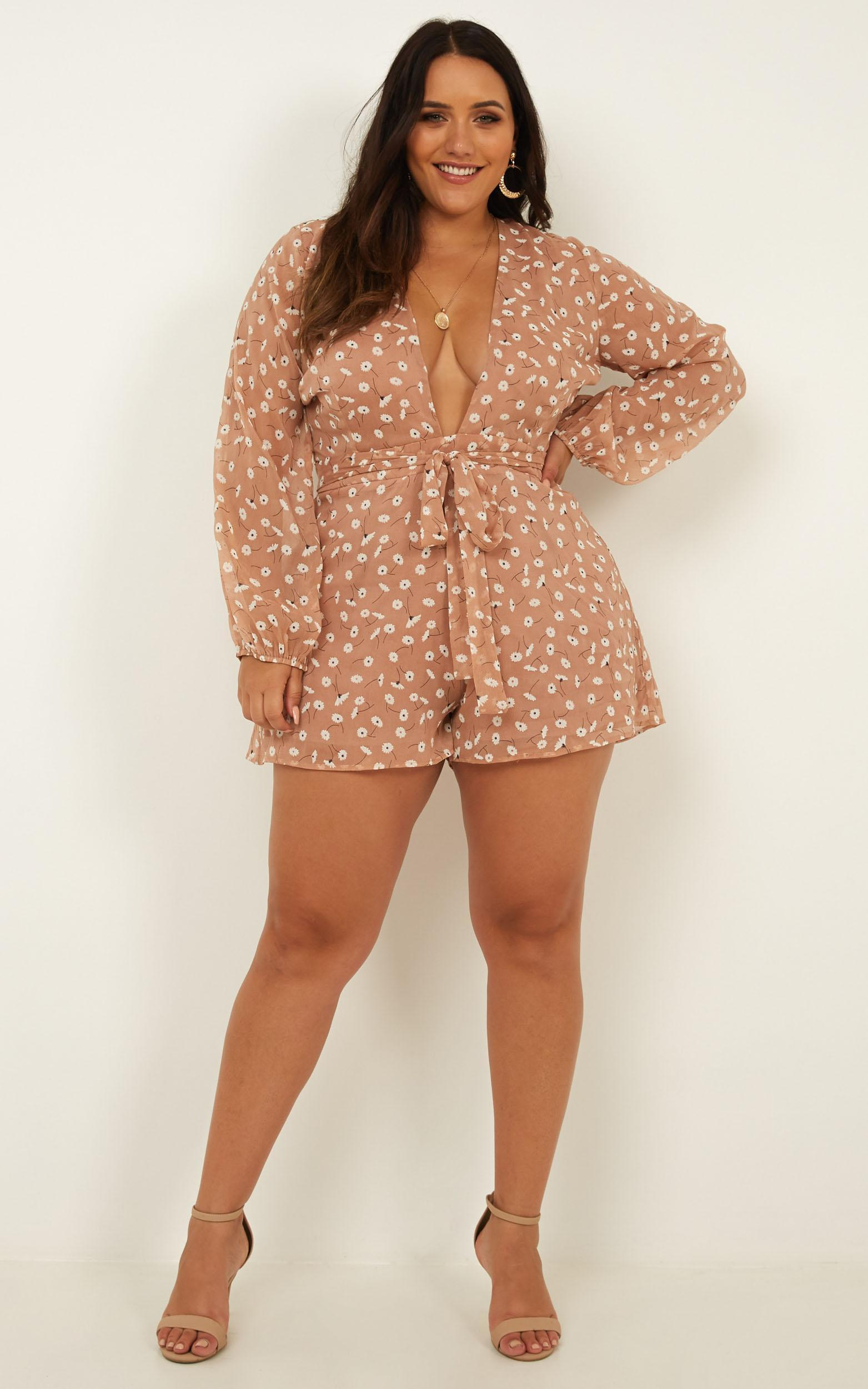 Wheels Bouncing Playsuit In blush floral - 18 (XXXL), Blush, hi-res image number null