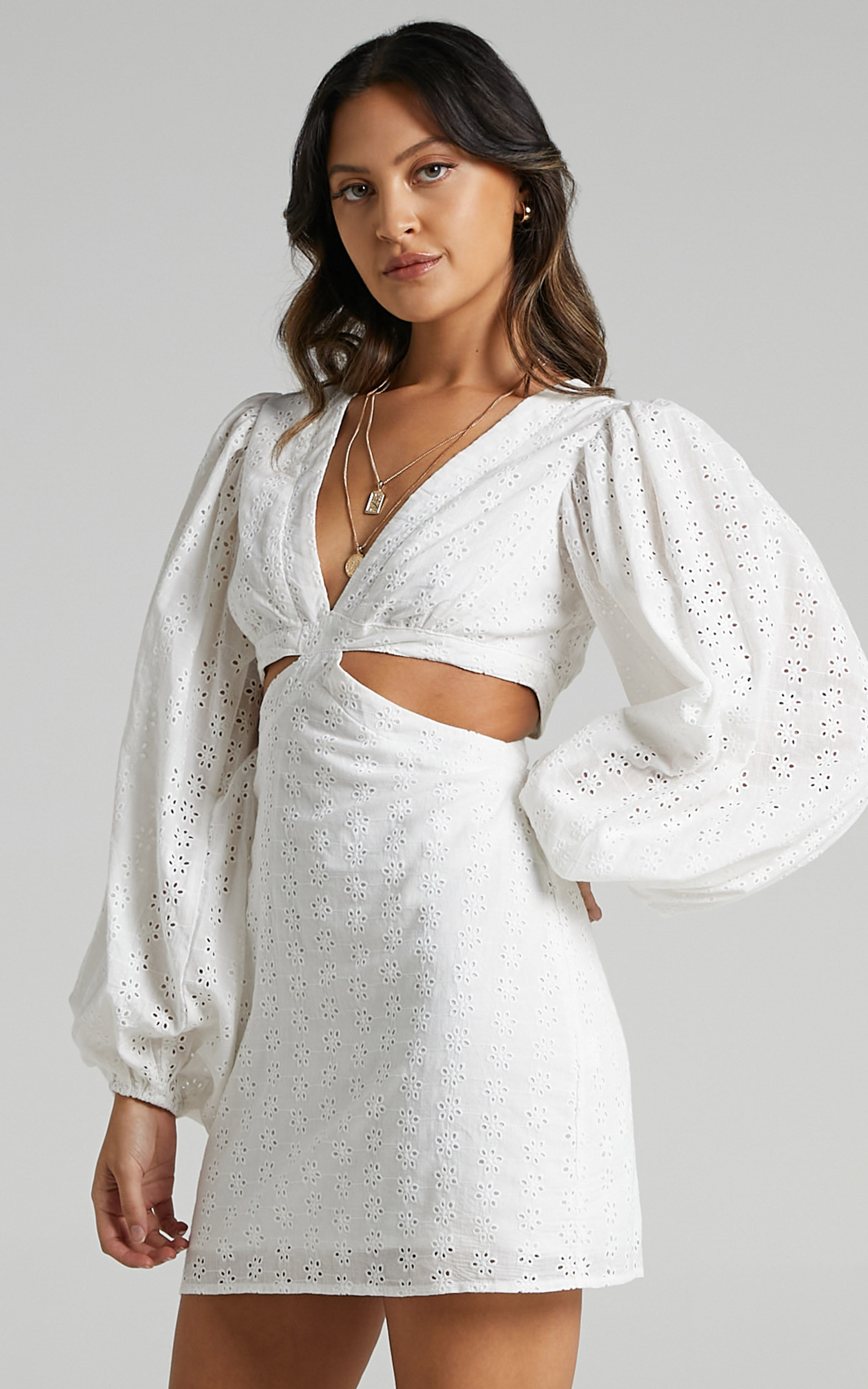 Jordyn Puff Sleeve Cut Out Mini Dress in White Embroidery Anglaise - 06, WHT2, hi-res image number null