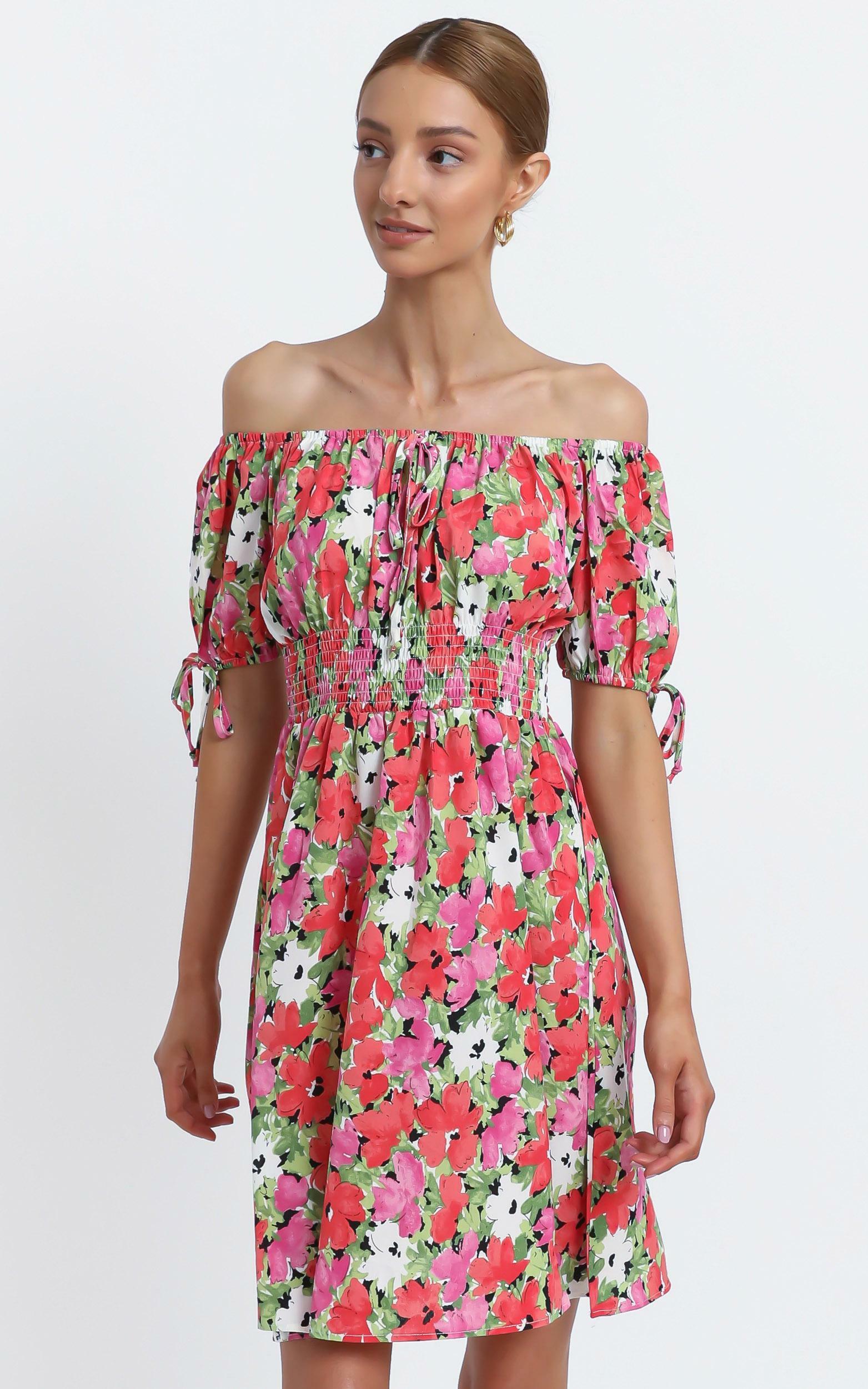 Octavia Dress in Pink Floral - 12 (L), Pink, hi-res image number null