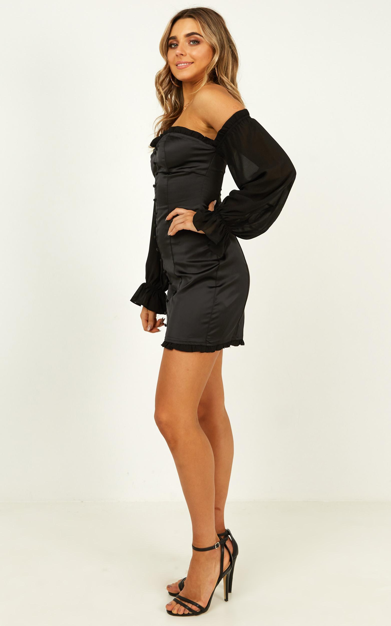 Lioness - Perfect Kind Dress In Black Satin - 12 (L), Black, hi-res image number null