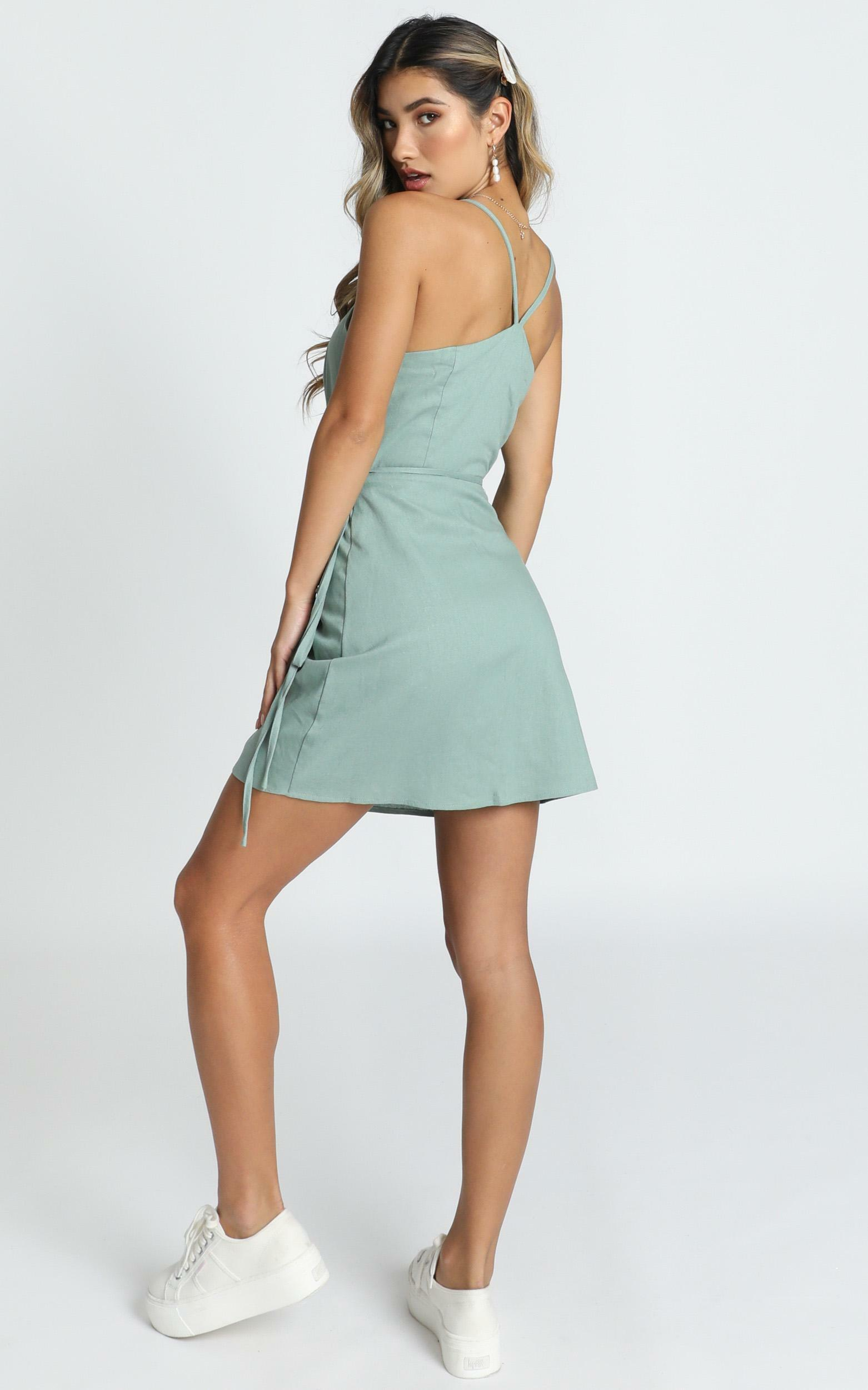 Whisper it Dress in sage linen look - 4 (XXS), Sage, hi-res image number null