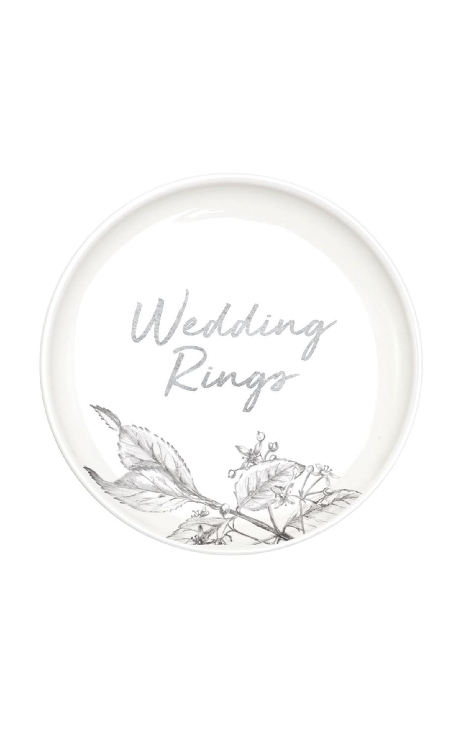 Wedding Rings Trinket Tray In White, , hi-res image number null