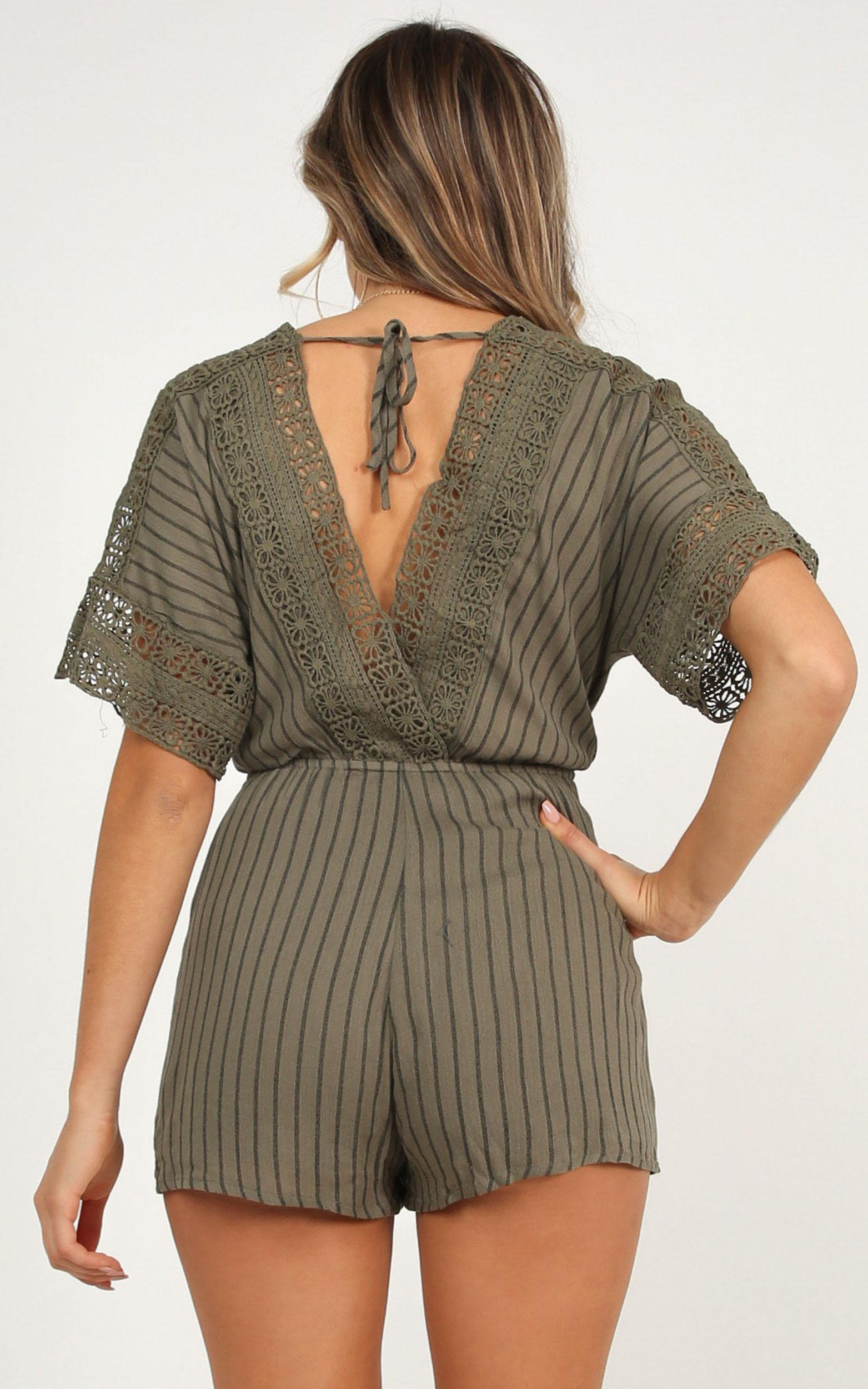 Find Your Destiny playsuit in khaki stripe - 12 (L), Khaki, hi-res image number null