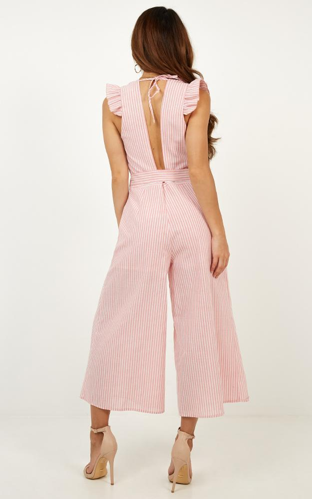 Book Me In Jumpsuit in pink stripe - 20 (XXXXL), Pink, hi-res image number null