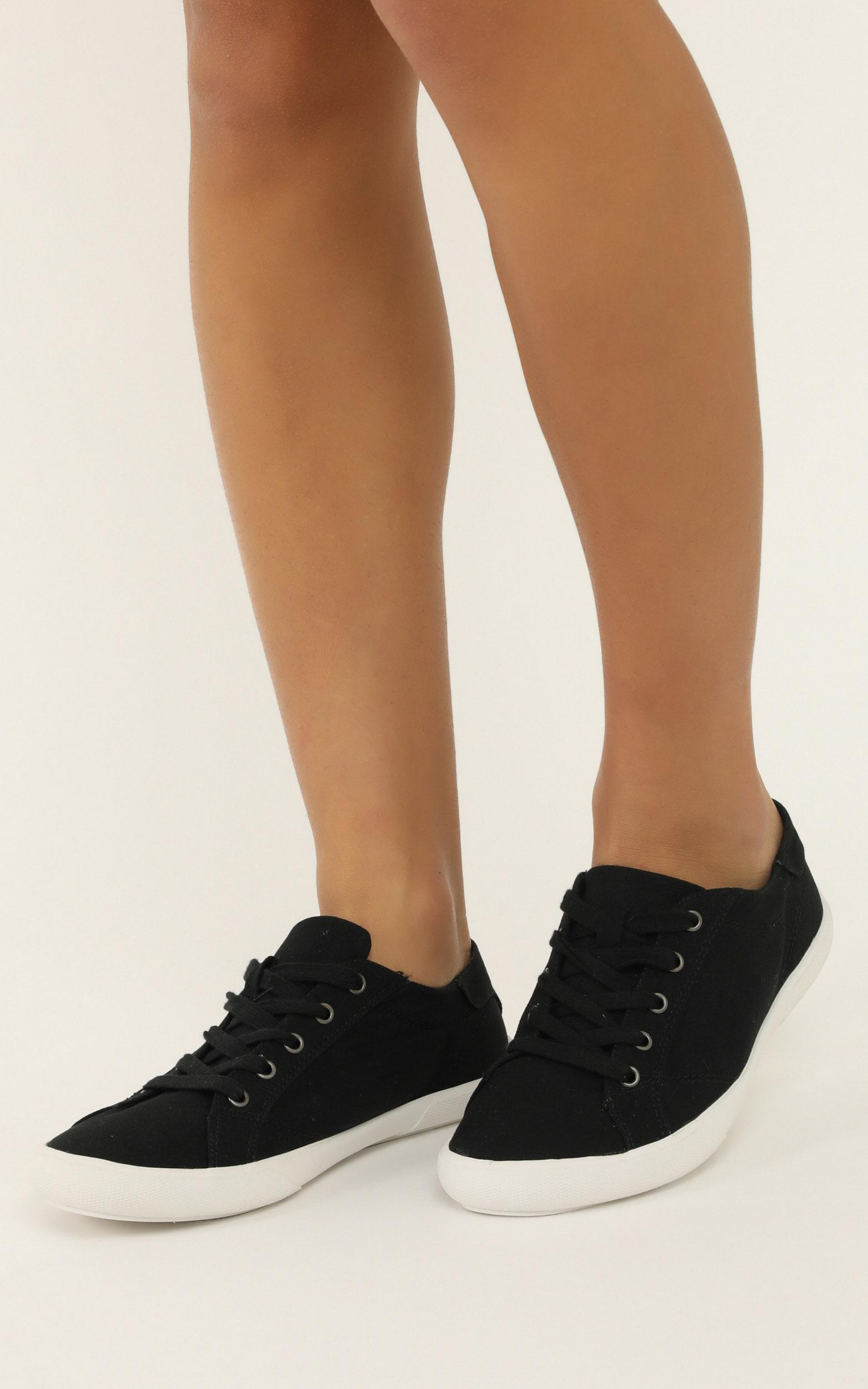 Verali - Retro Sneakers in black canvas - 10, Black, hi-res image number null
