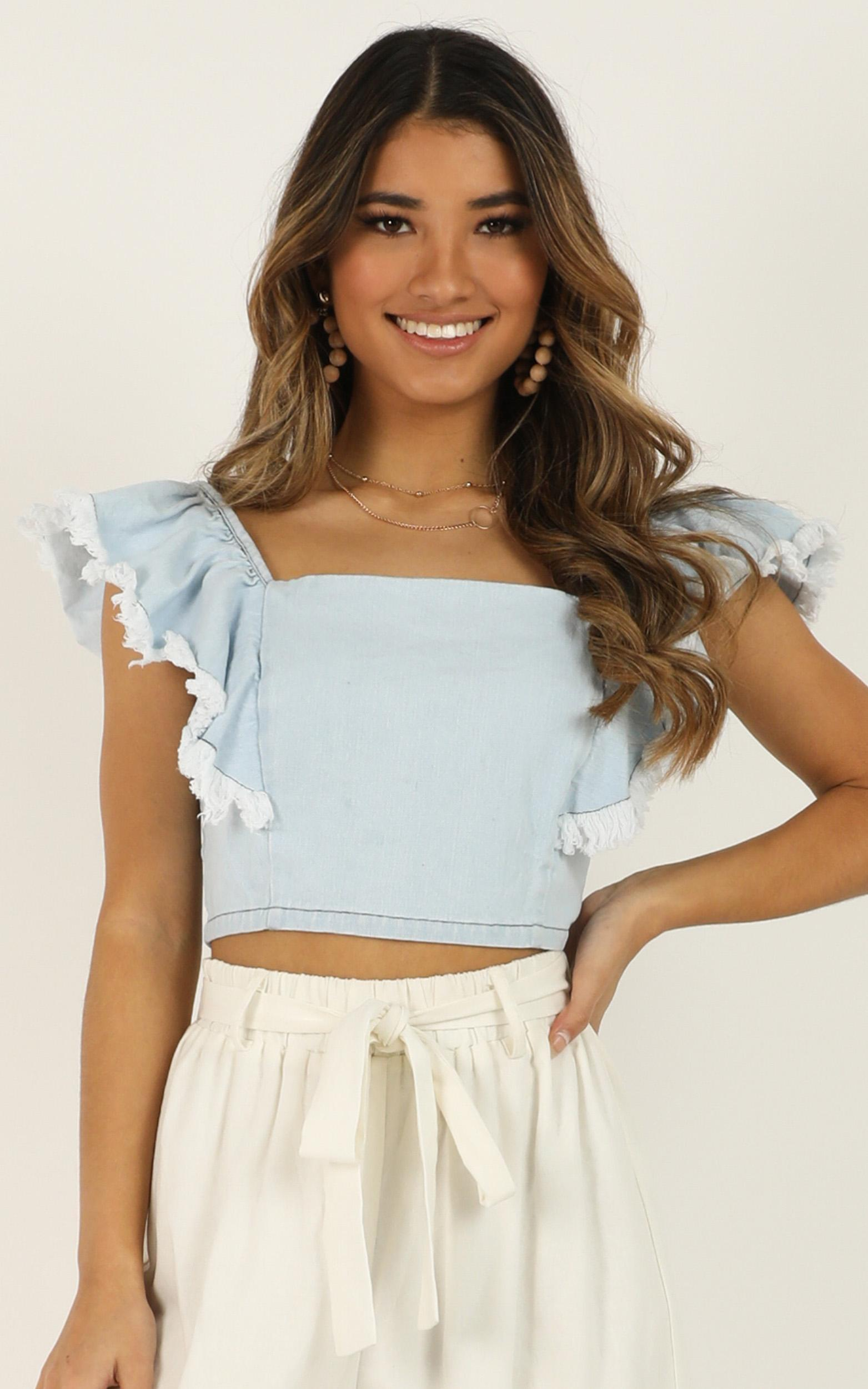 Myself With You denim top In light blue wash - 18 (XXXL), Blue, hi-res image number null