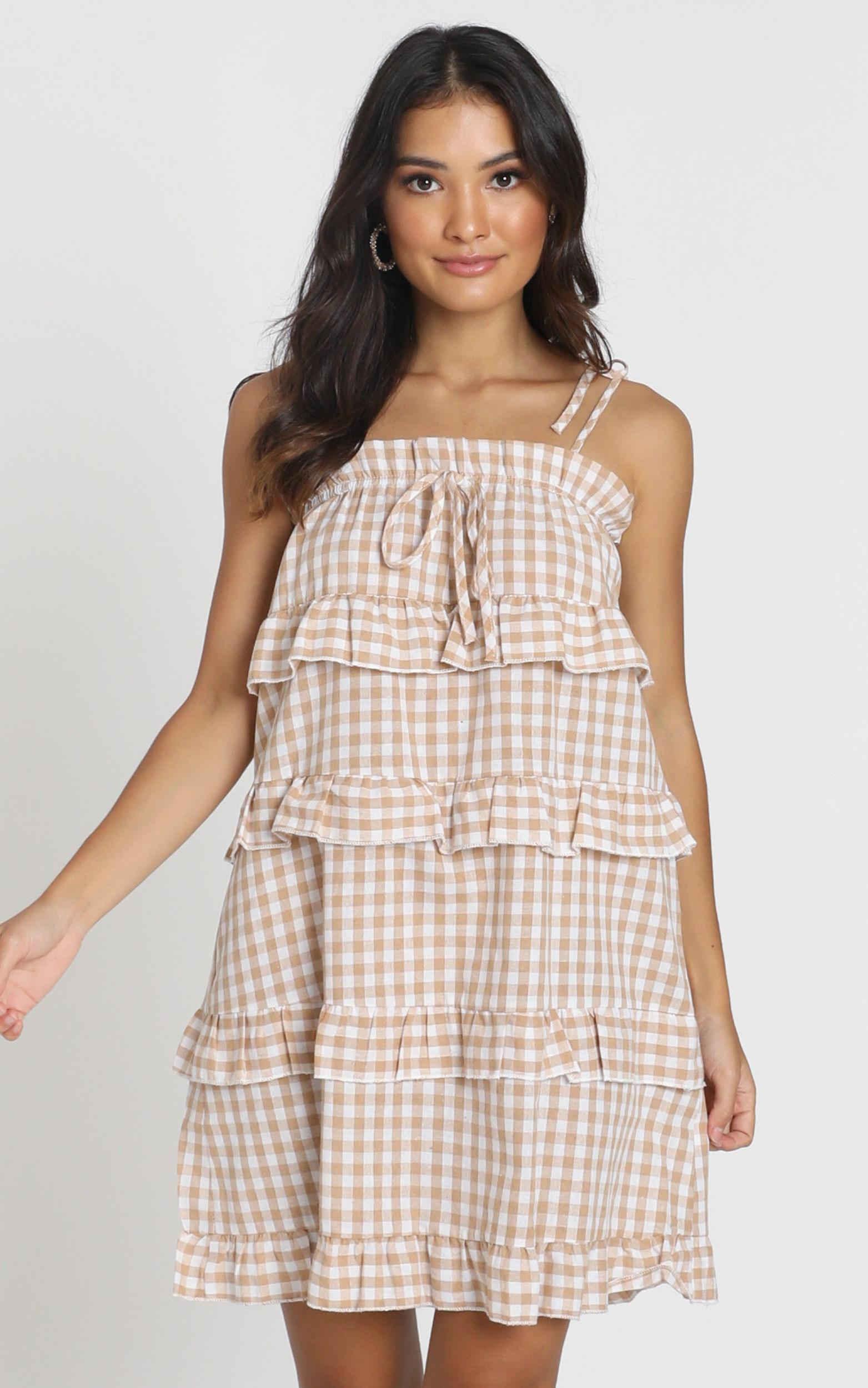 Take Five Dress in beige check - 6 (XS), Beige, hi-res image number null