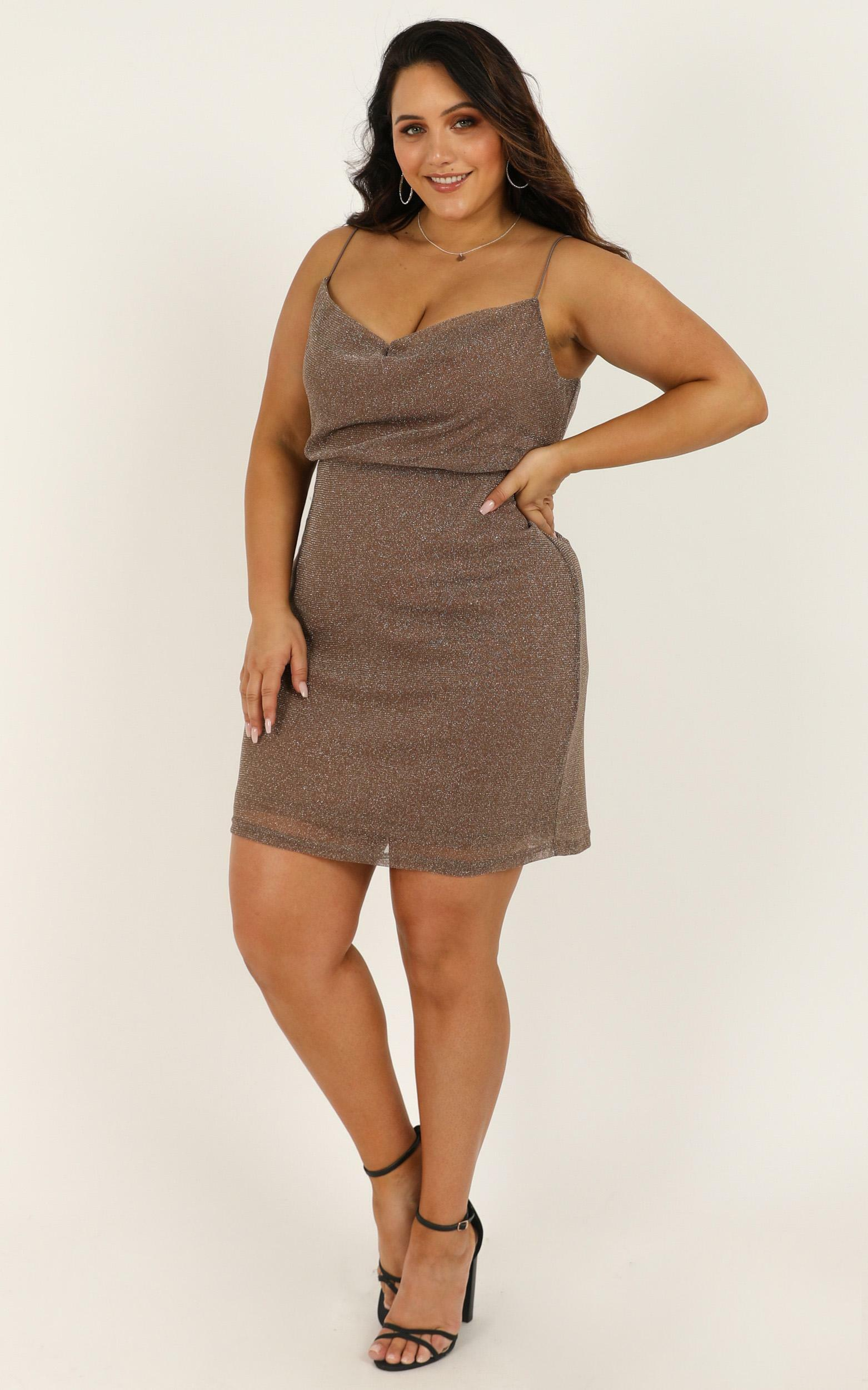 Explain It To Me Dress In taupe lurex - 18 (XXXL), Taupe, hi-res image number null