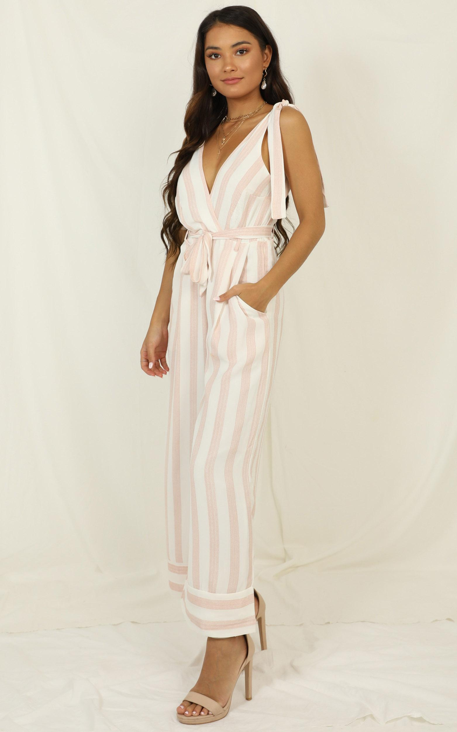 Love Triangle jumpsuit in blush stripe - 6 (XS), Blush, hi-res image number null