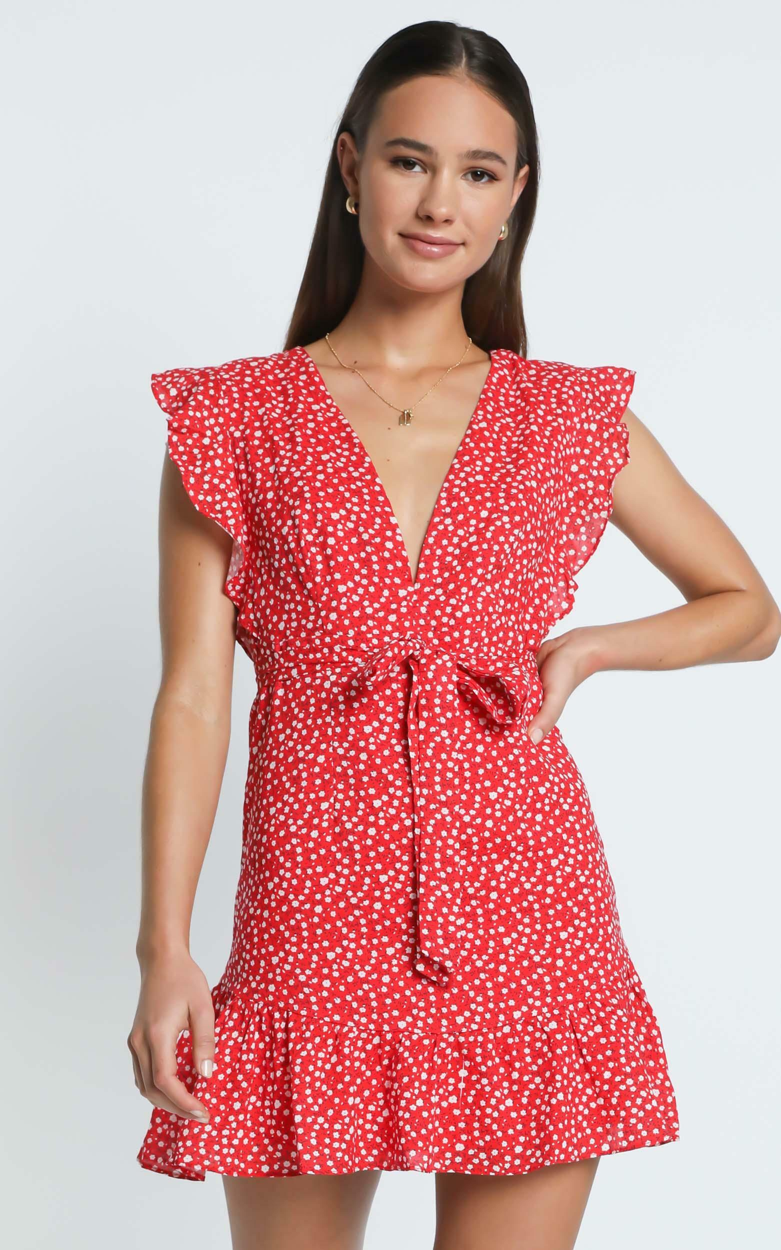 No Place Like Home dress in red floral - 12 (L), Red, hi-res image number null