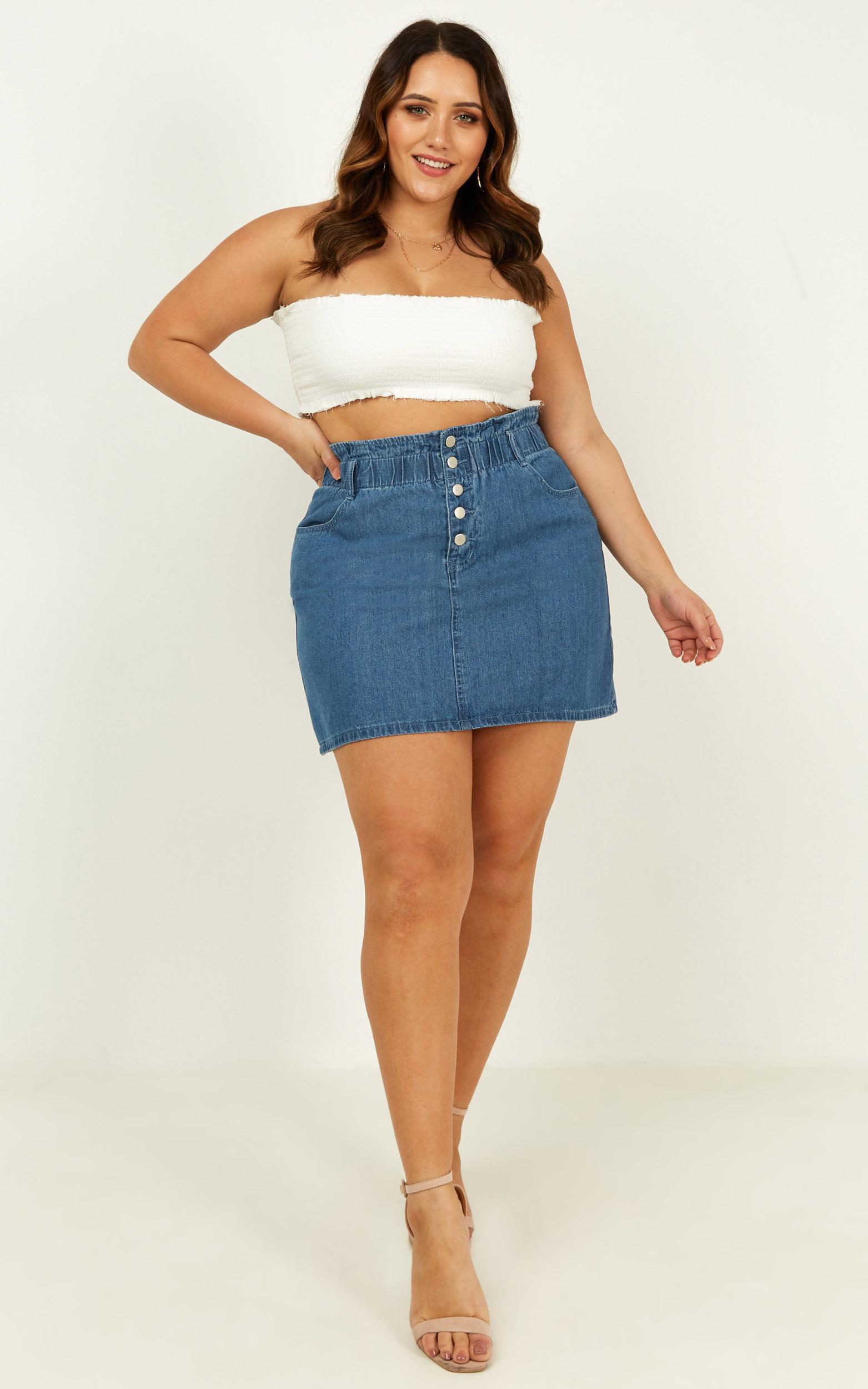 Shes Done Denim skirt in dark wash - 14 (XL), Blue, hi-res image number null