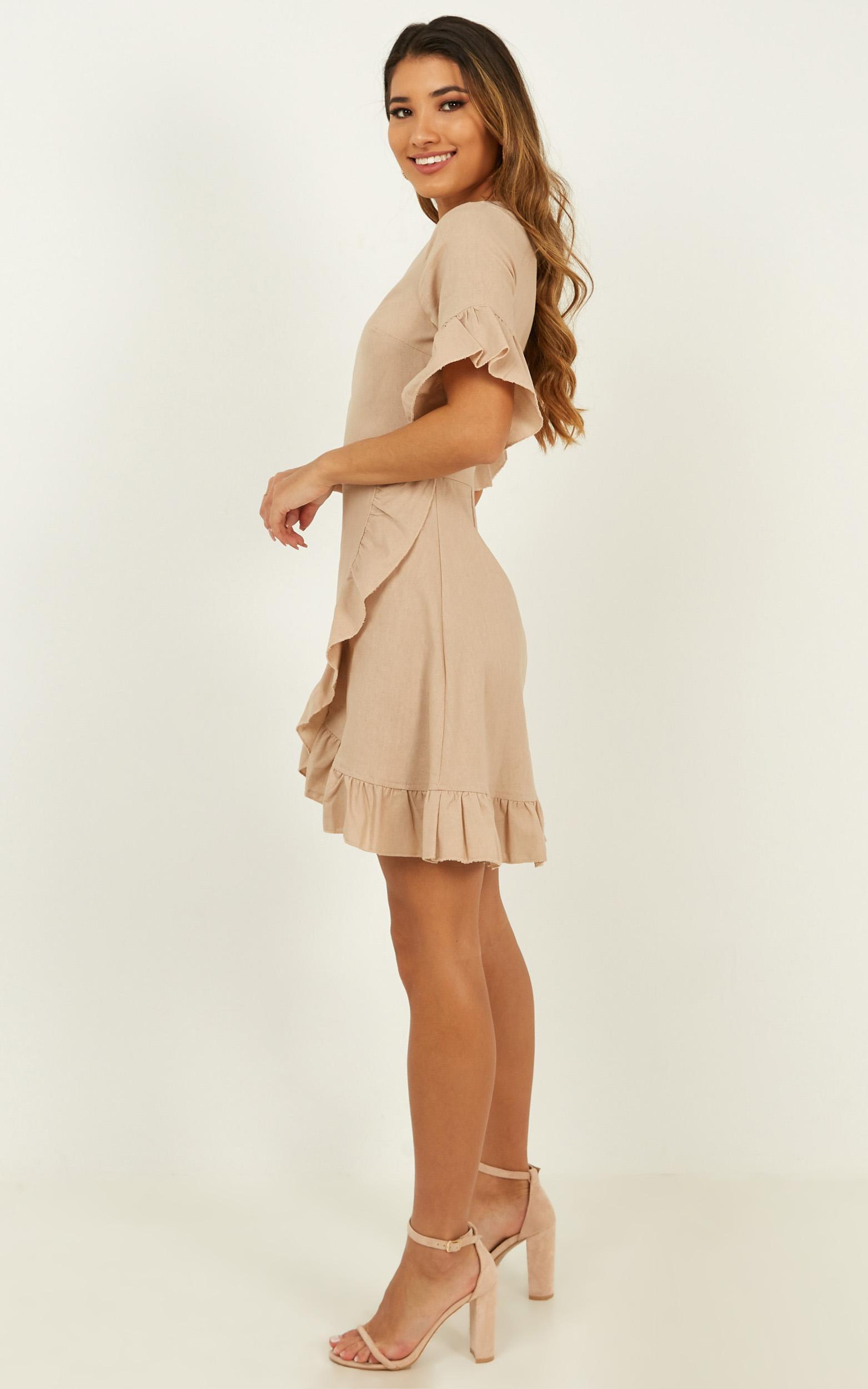 Something Surreal Dress in mocha linen look - 14 (XL), Mocha, hi-res image number null