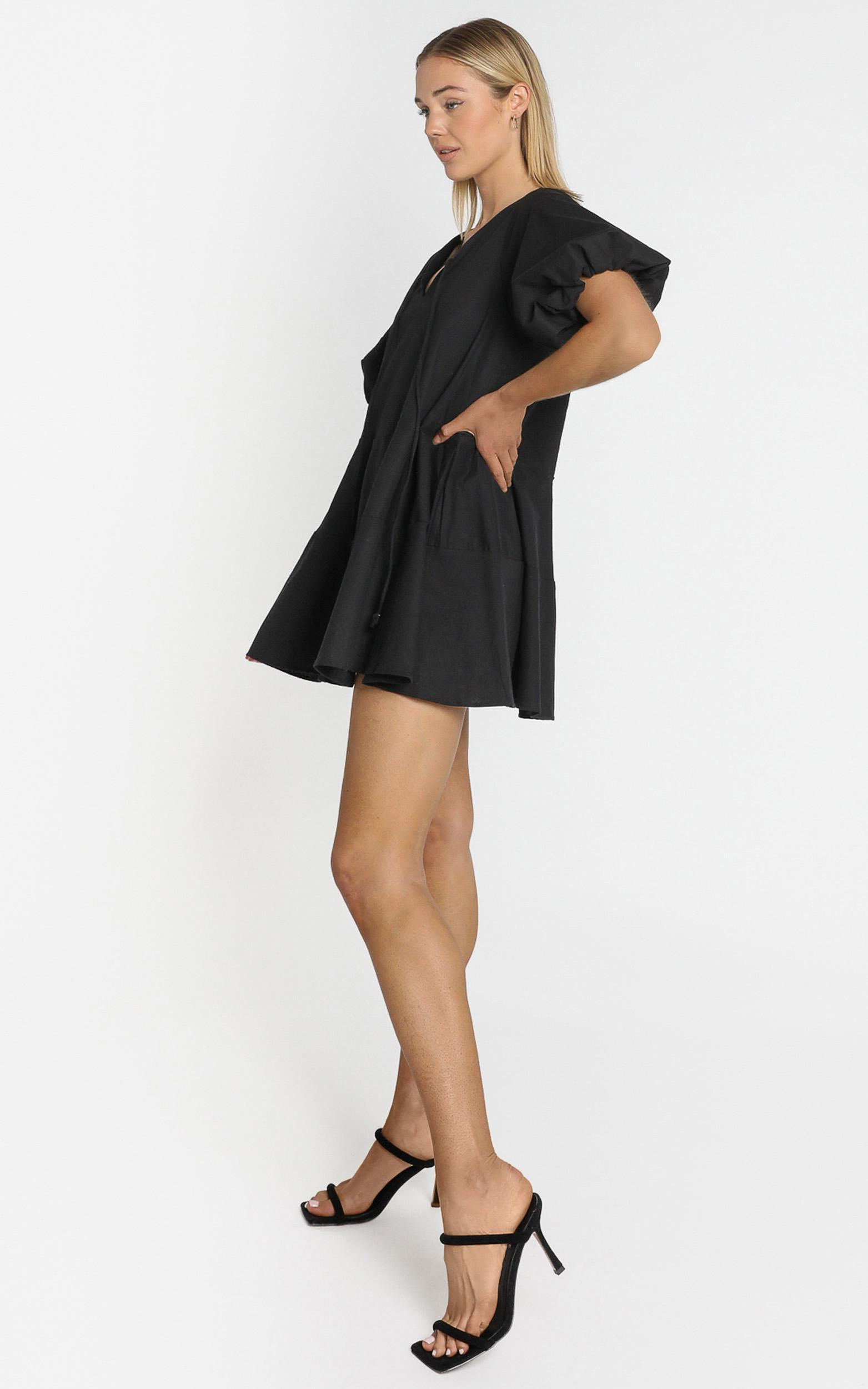 Krizza Mini Dress in black linen look - 4 (XXS), Black, hi-res image number null