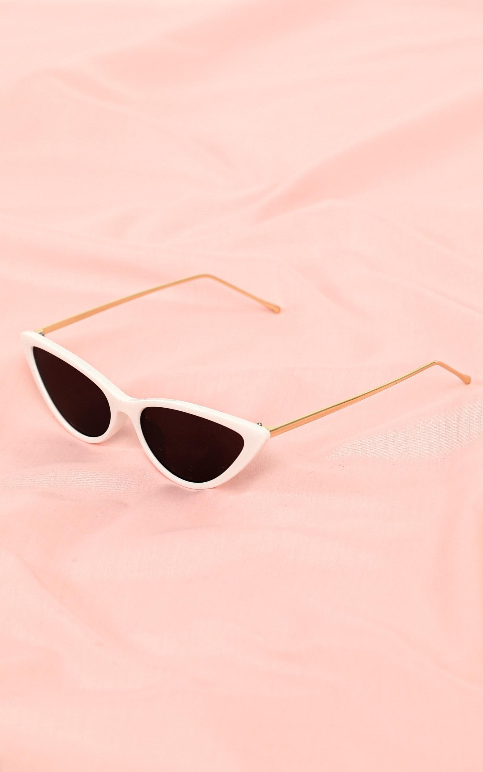 Lost At Sea Sunglasses In White And Gold, , hi-res image number null
