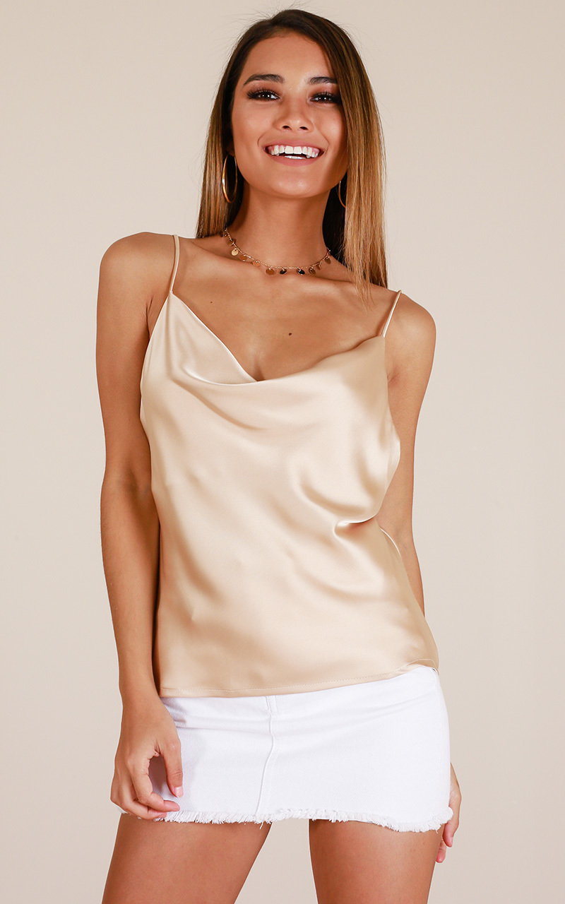All The Same Top In Champagne satin, Beige, hi-res image number null