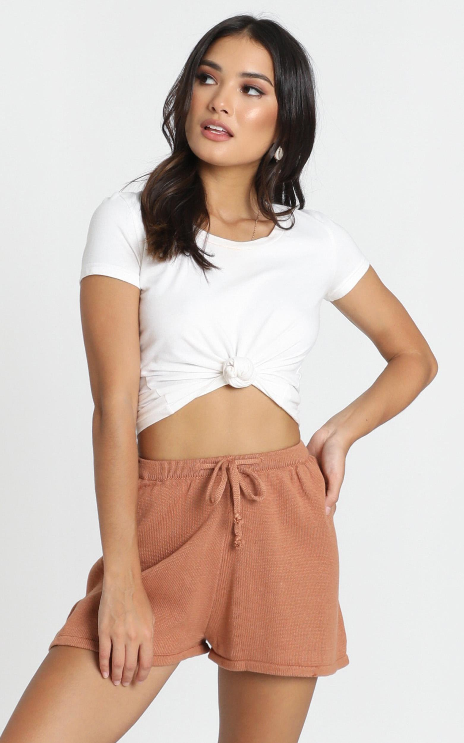 Hartley Knitted Shorts in tan - 8 (S), Tan, hi-res image number null