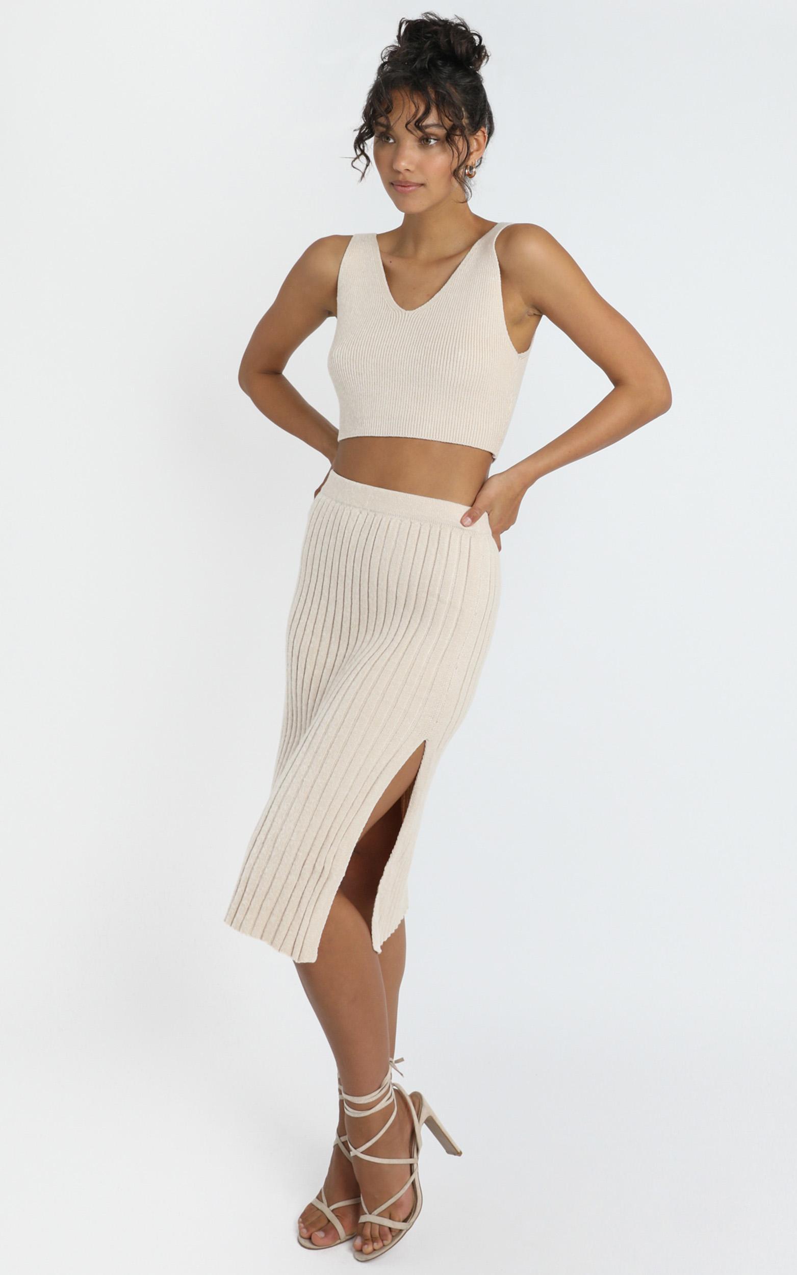 Yana Knit Skirt in Beige - 8 (S), Beige, hi-res image number null