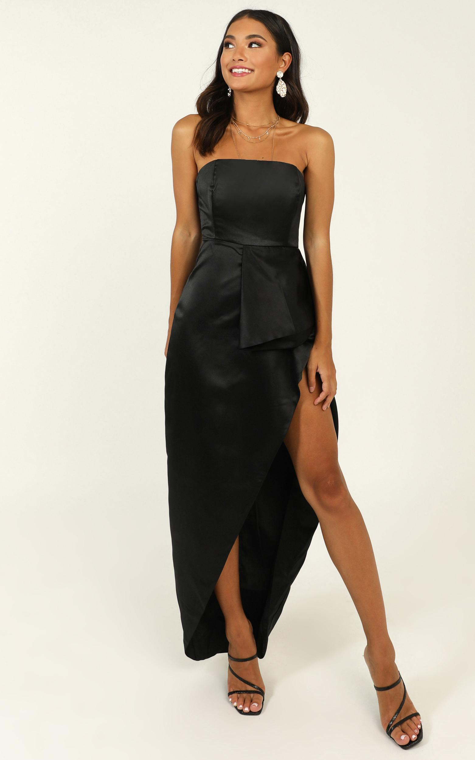 When I Was Falling In Love Dress In black satin - 14 (XL), Black, hi-res image number null