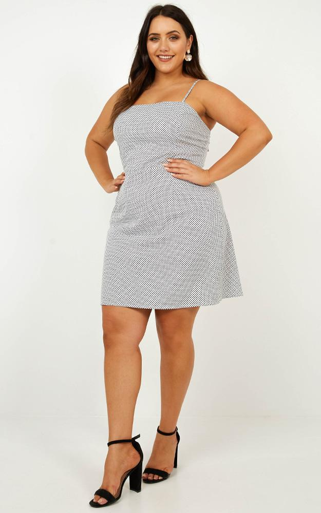 As I Say Dress in white spot - 20 (XXXXL), White, hi-res image number null