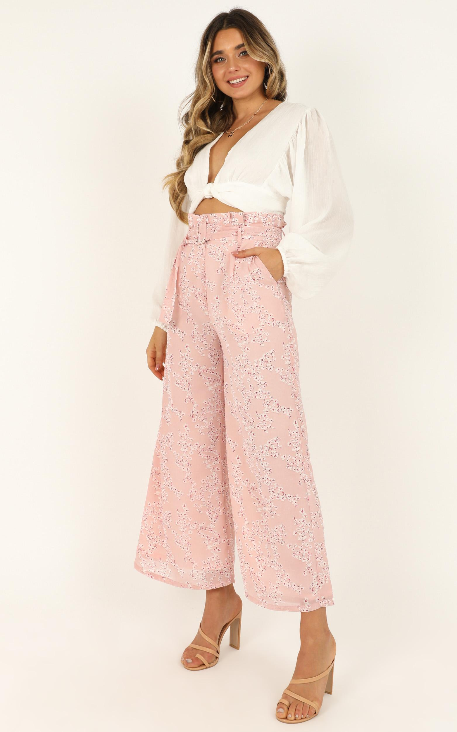 Hanging Flowers Pants In pink floral - 12 (L), Pink, hi-res image number null
