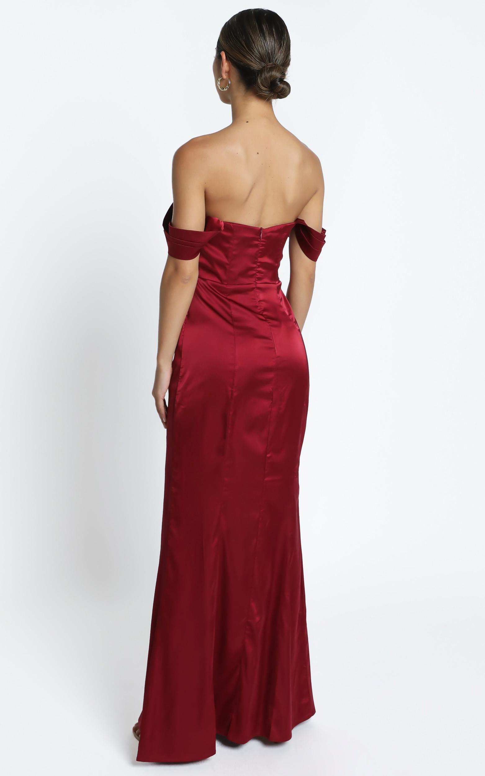 Faye Off the Shoulder Maxi Dress in wine satin - 4 (XXS), Wine, hi-res image number null
