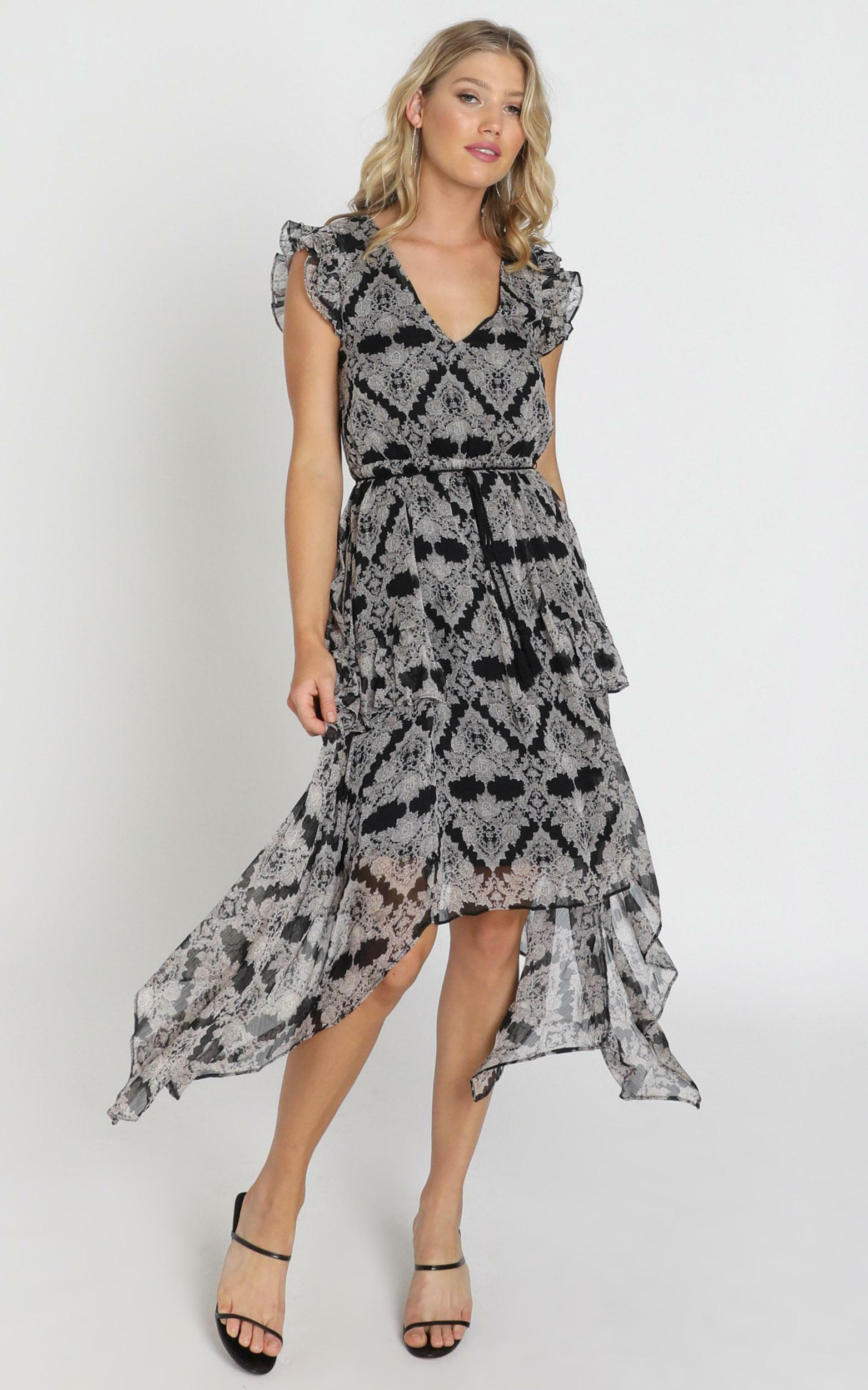 Genevieve Dress in black print - 8 (S), Black, hi-res image number null