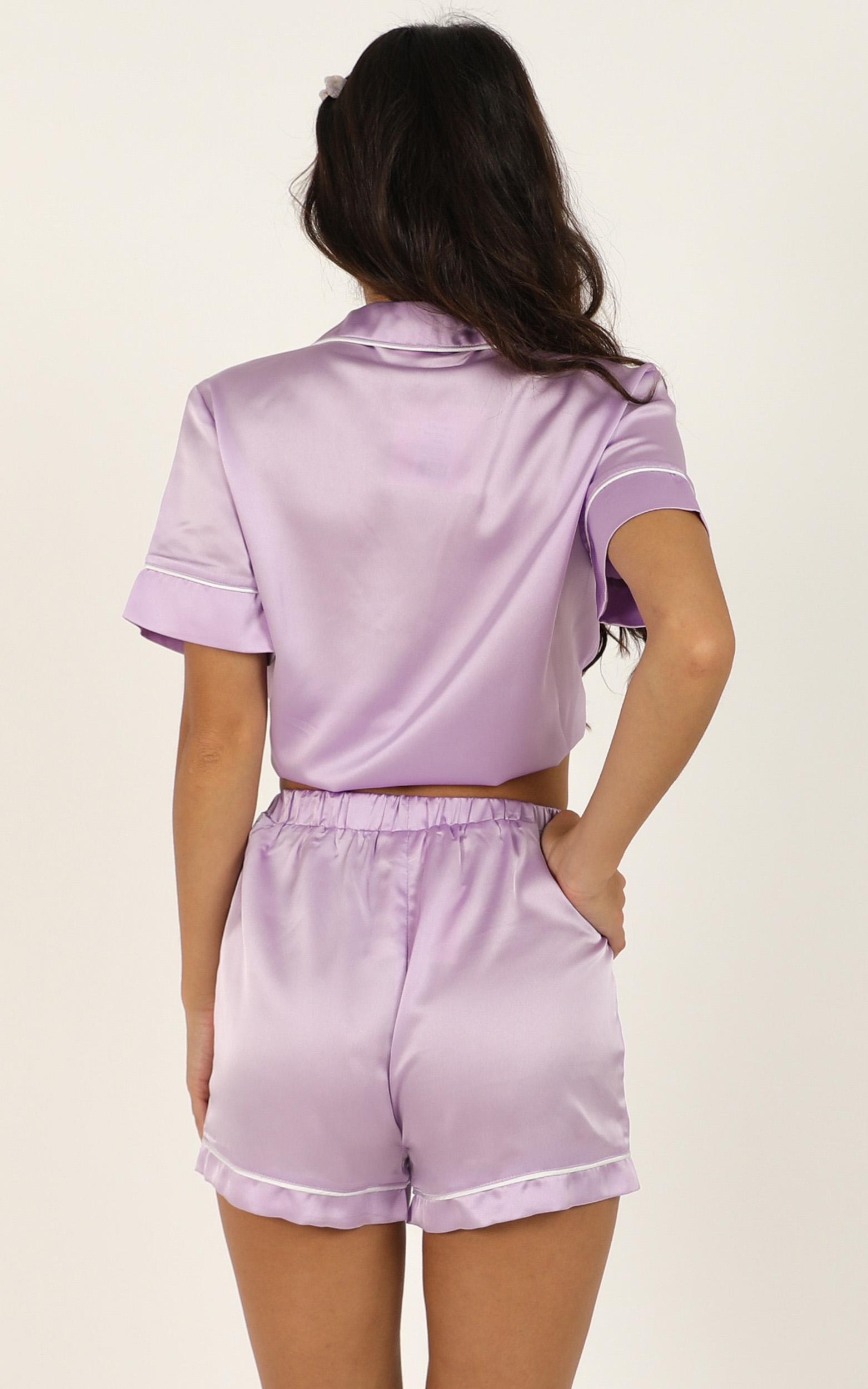Sleep All Day Top in lilac satin - 20 (XXXXL), Purple, hi-res image number null