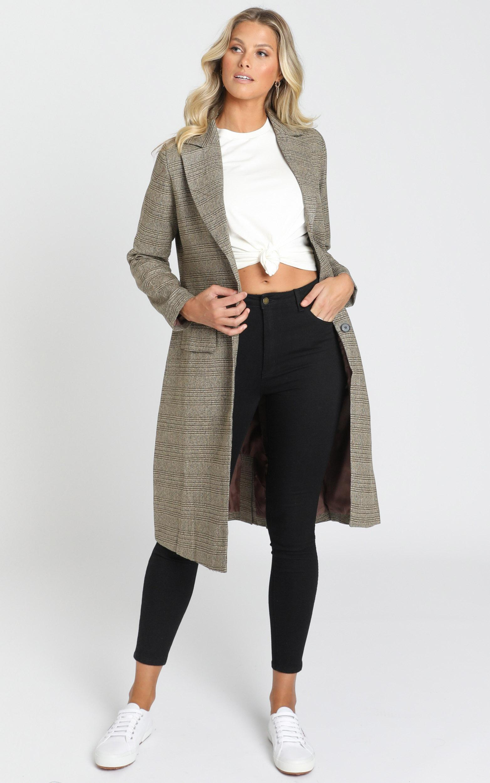 Twice Blessed Jacket in brown check - 4 (XXS), Brown, hi-res image number null