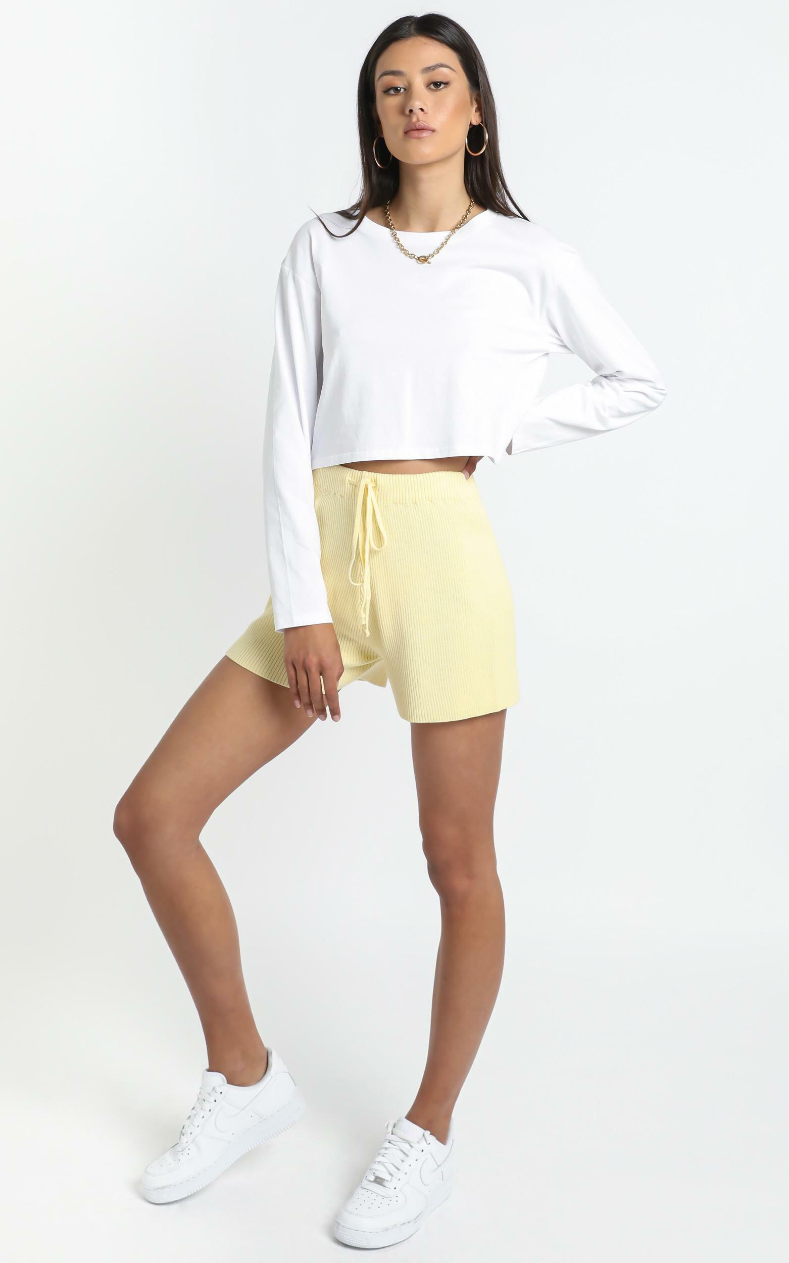Lullaby Club - Alex Knit Shorts in Lemon - L/XL, Yellow, hi-res image number null