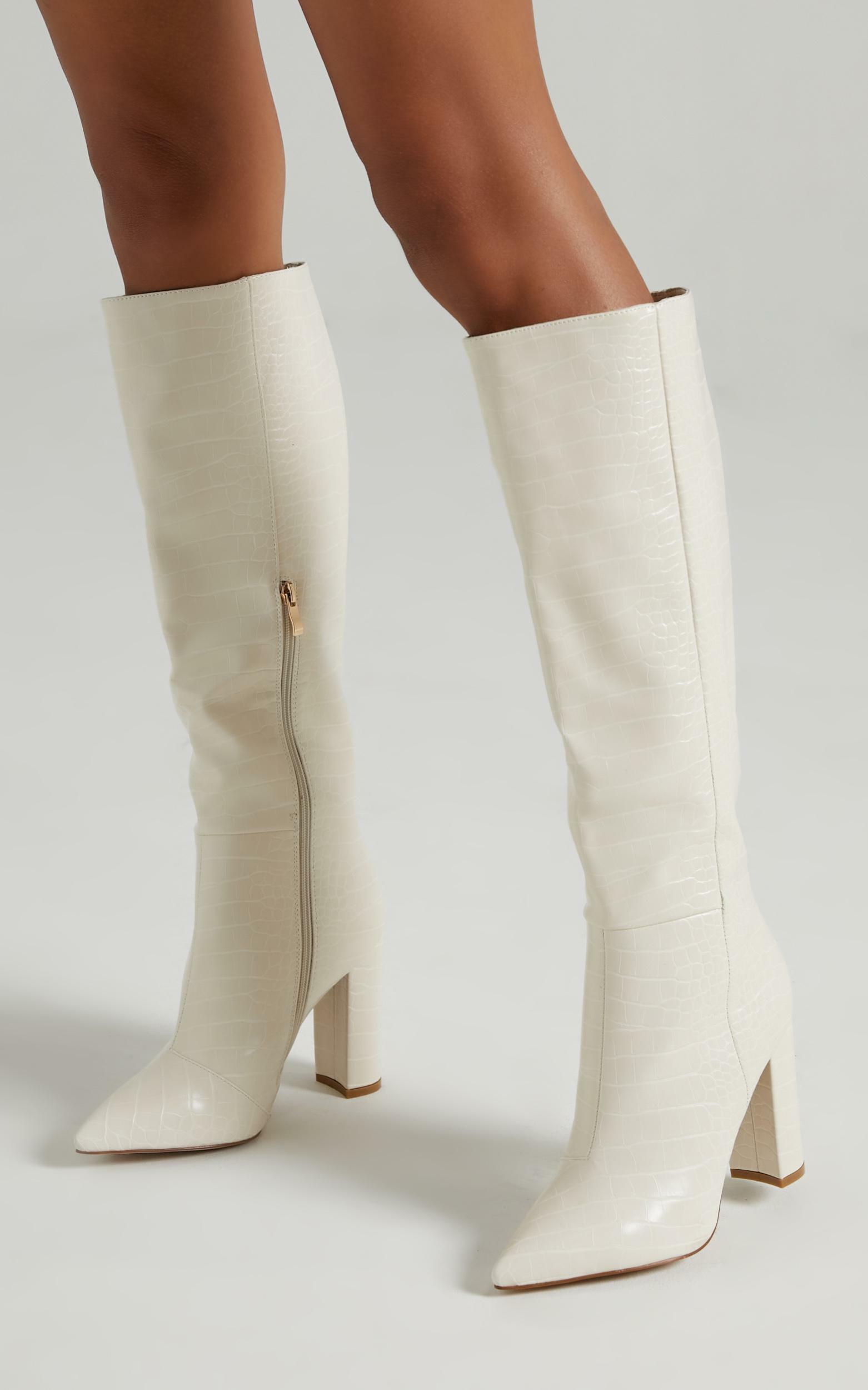 Billini - Milla Boots in Bone Croc - 5, Cream, hi-res image number null