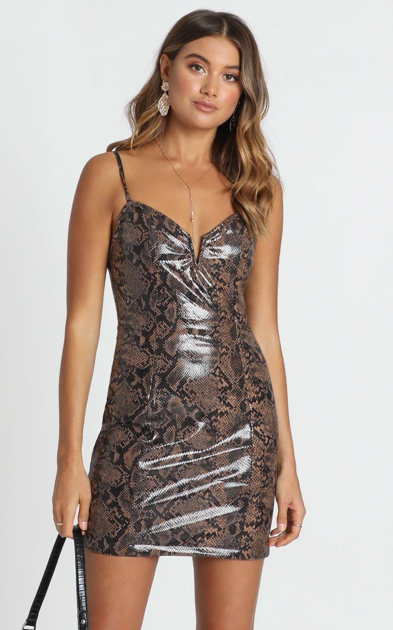 Lady Of Love Dress In Snake Print - 12 (L), Brown, hi-res image number null