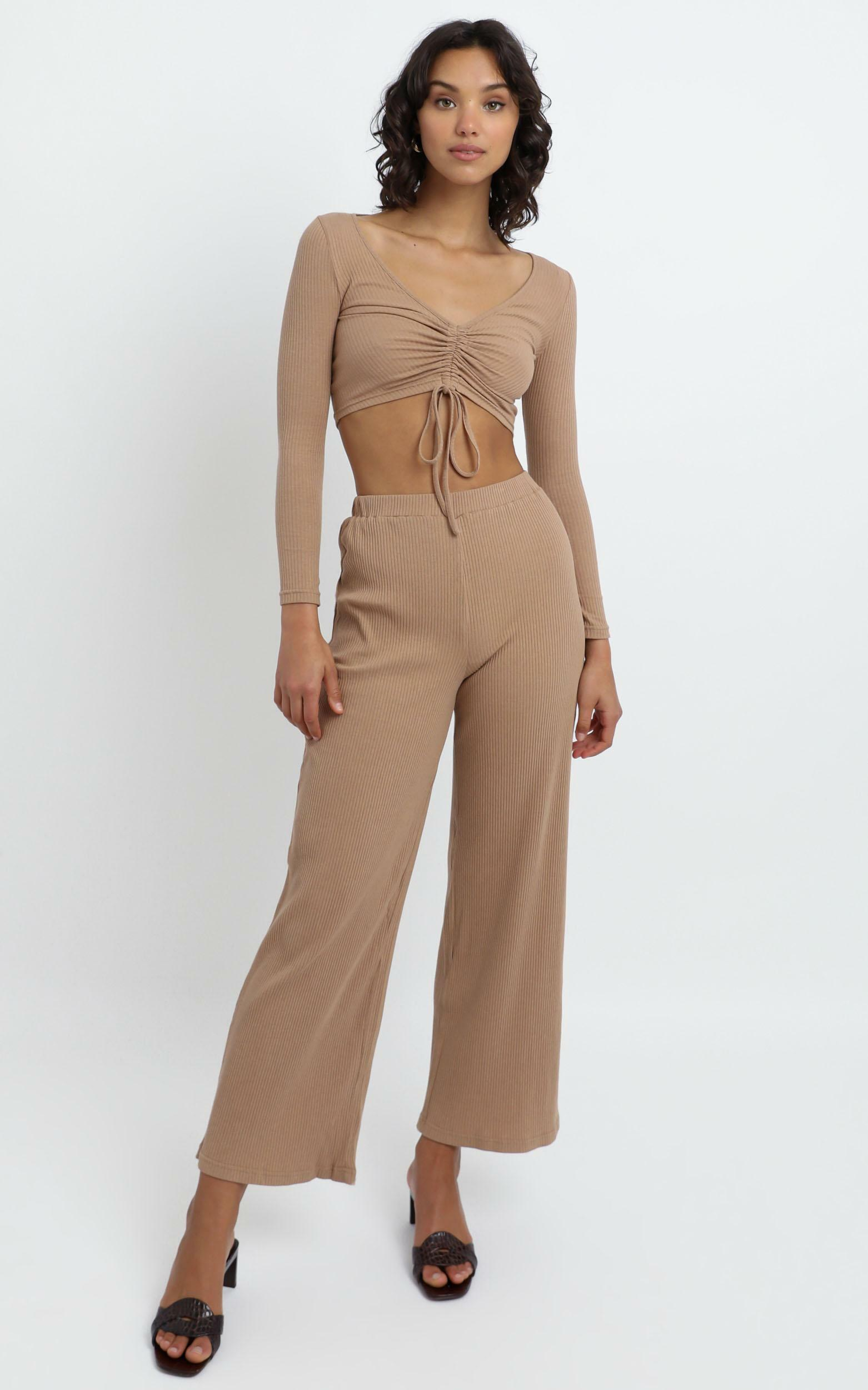 Roma Two Piece Set in Tan - 6 (XS), Tan, hi-res image number null
