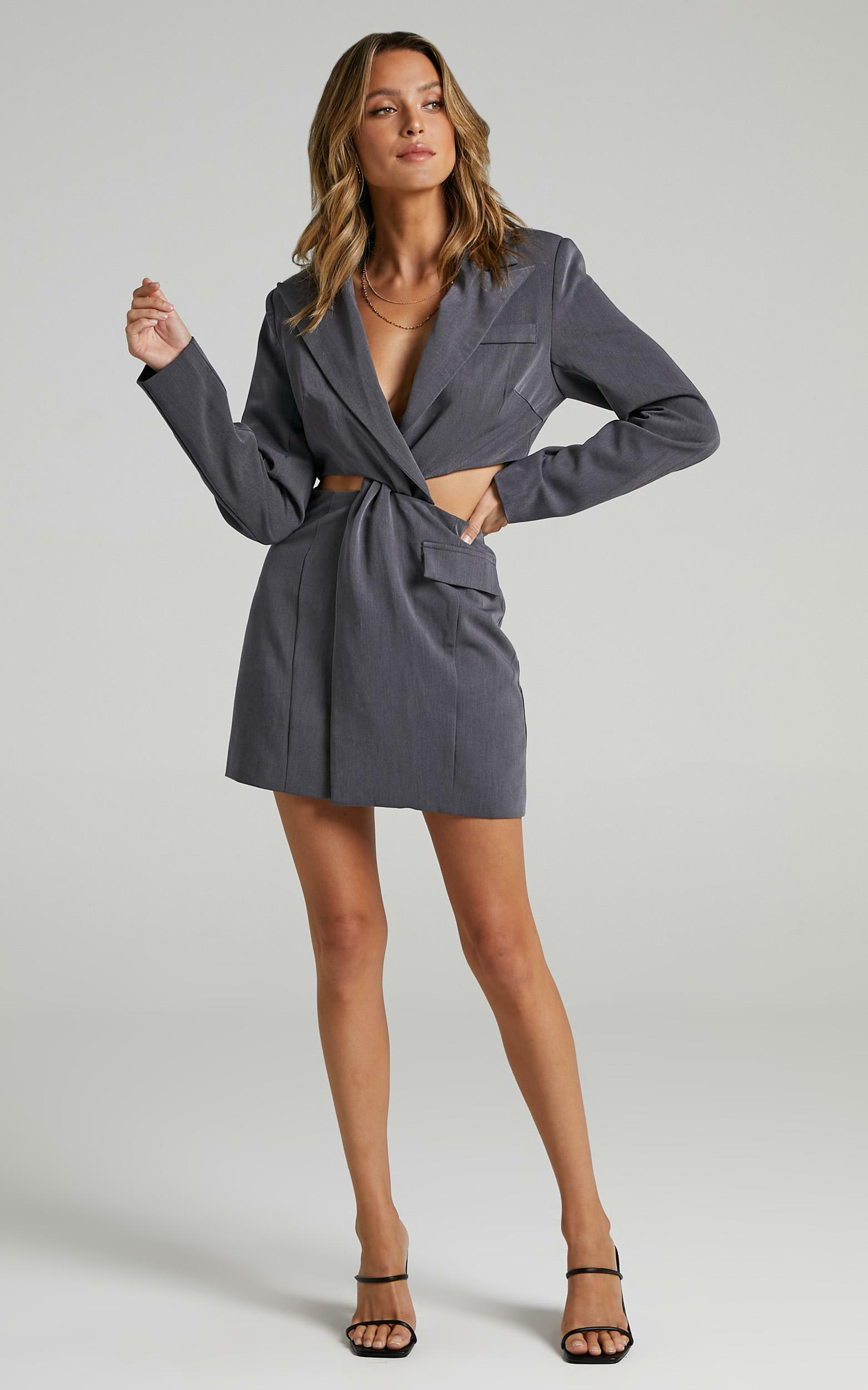 Amina Blazer Dress in Charcoal - 06, GRY1, hi-res image number null