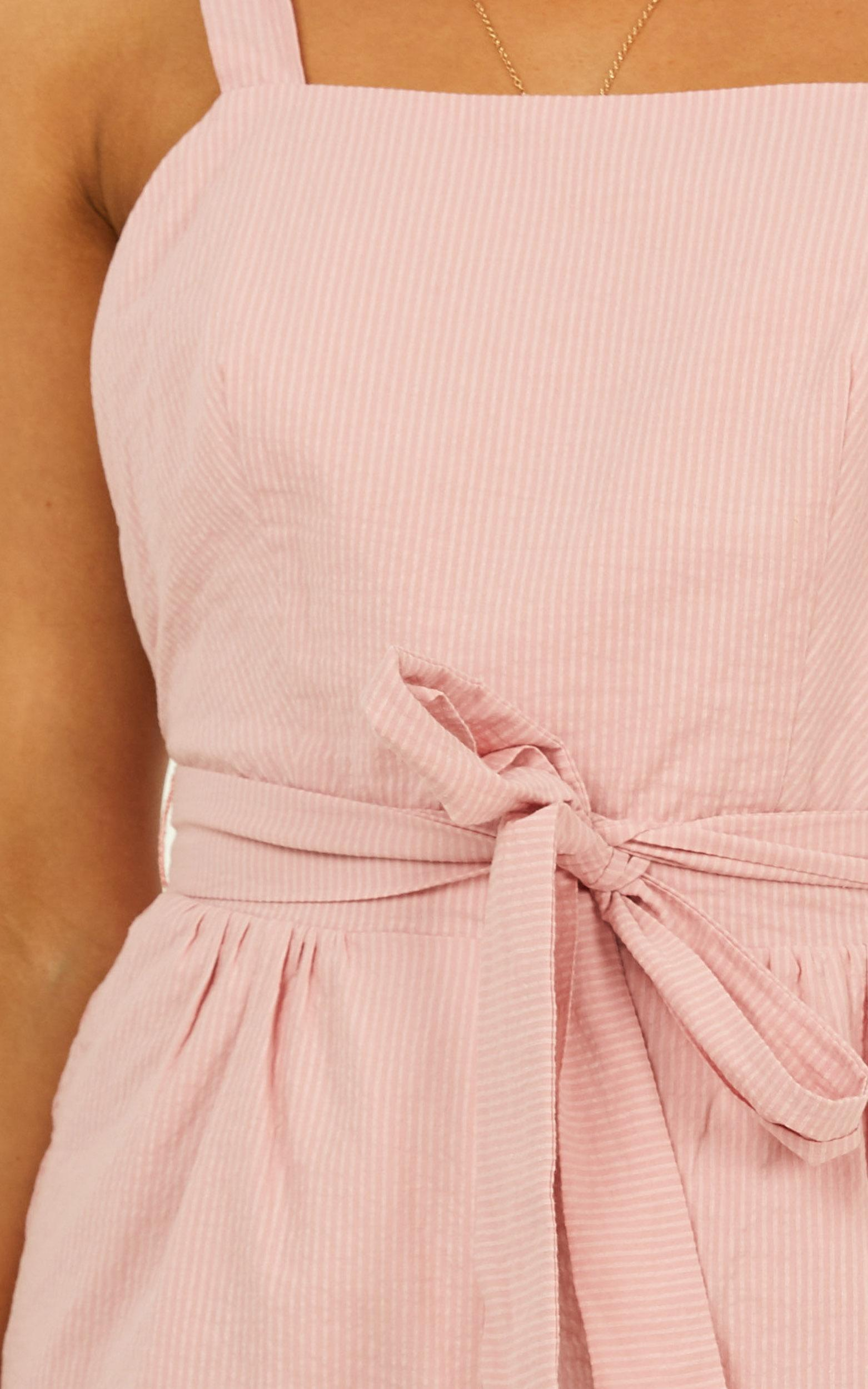 Younger Frills Jumpsuit in blush stripe - 18 (XXXL), Blush, hi-res image number null