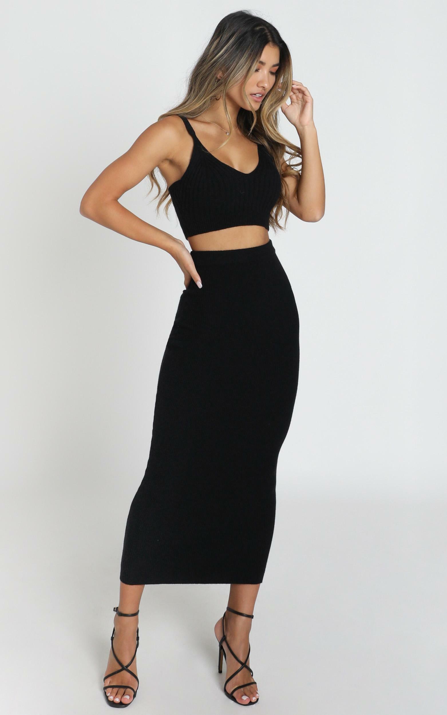 Jessie Knit Skirt in black rib - 6 (XS), Black, hi-res image number null