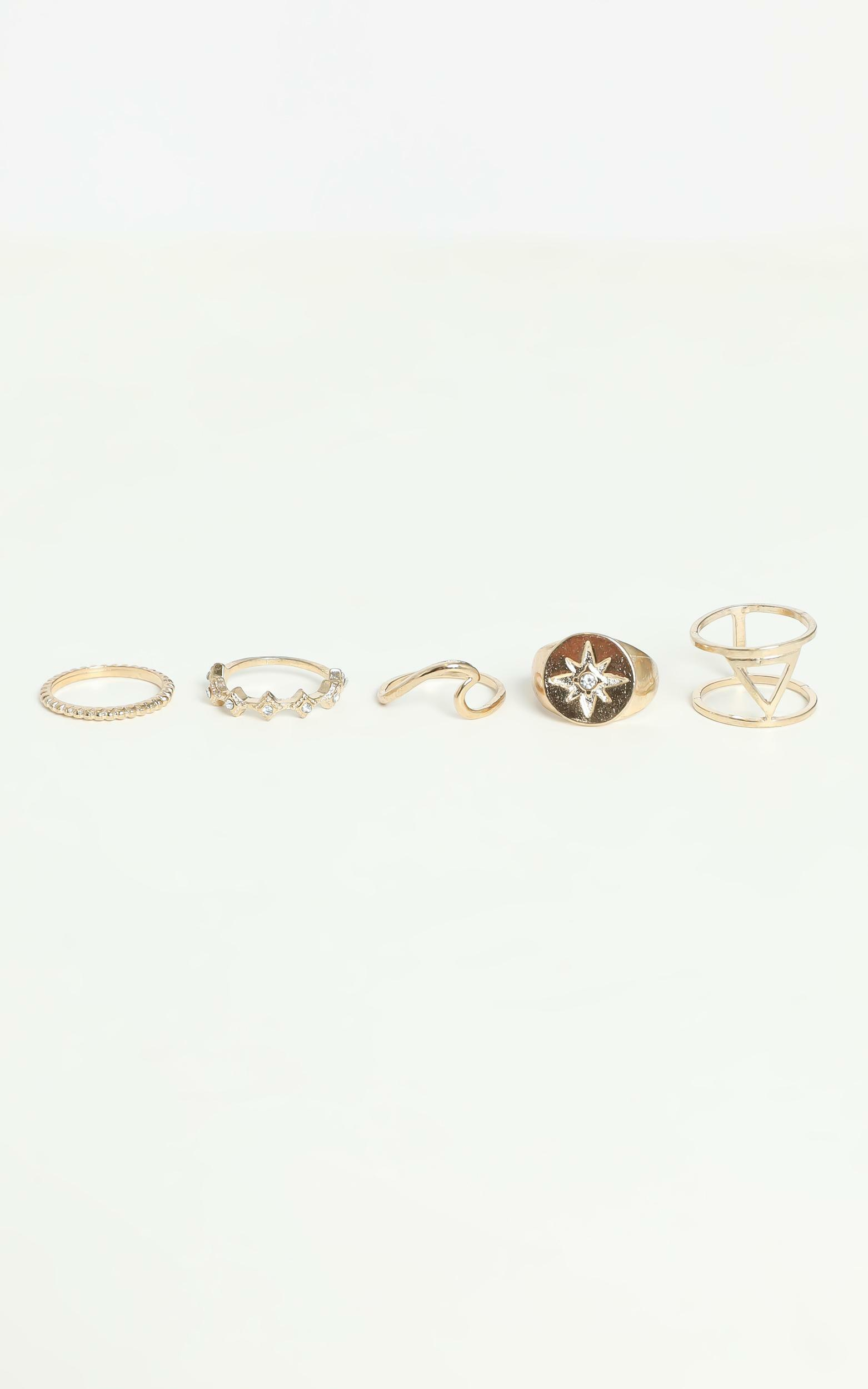 Moods and Waves Multi Ring Set in Gold, Gold, hi-res image number null