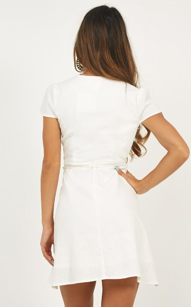 To Market Dress in white linen look - 20 (XXXXL), White, hi-res image number null