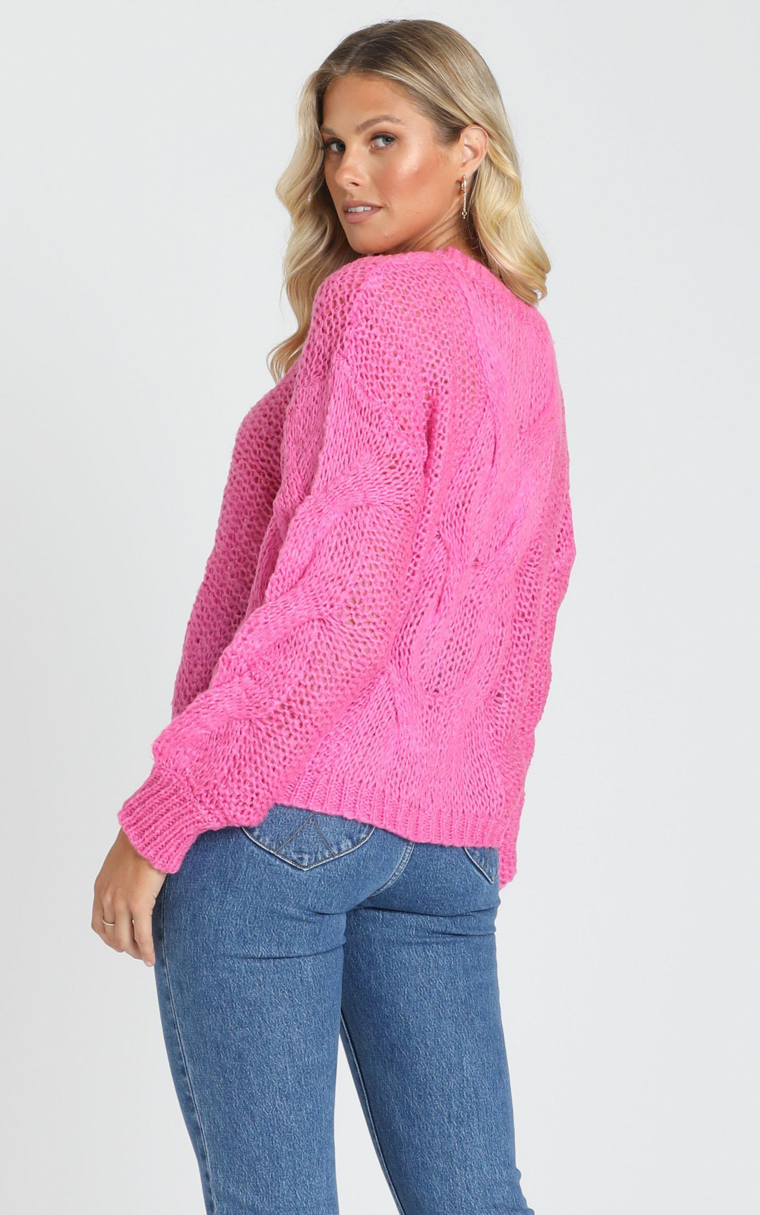 Jules Cable Knit Jumper in  Hot Pink - S/M, Pink, hi-res image number null