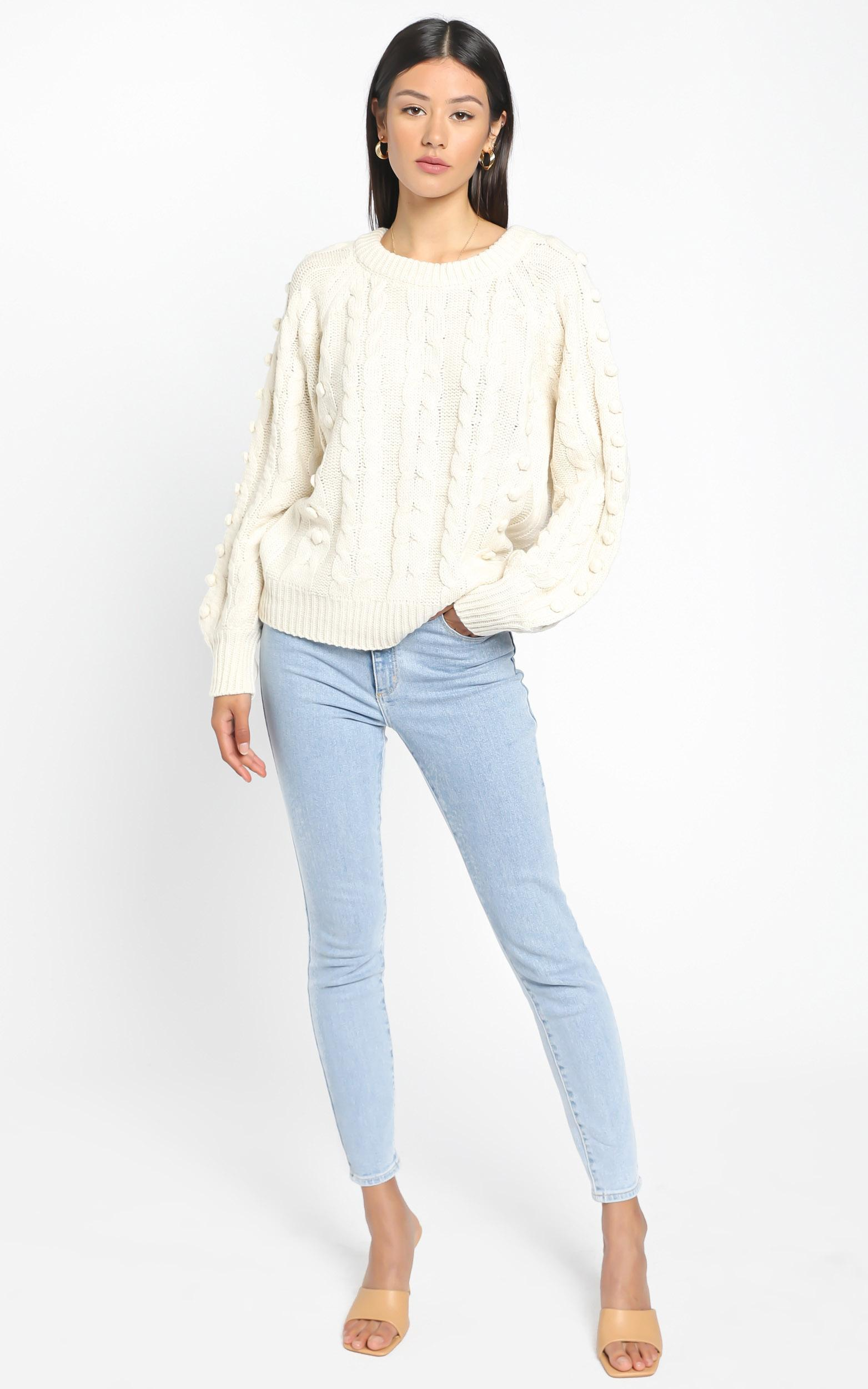 Brianna Bobble Knit In Cream - M/L, Cream, hi-res image number null