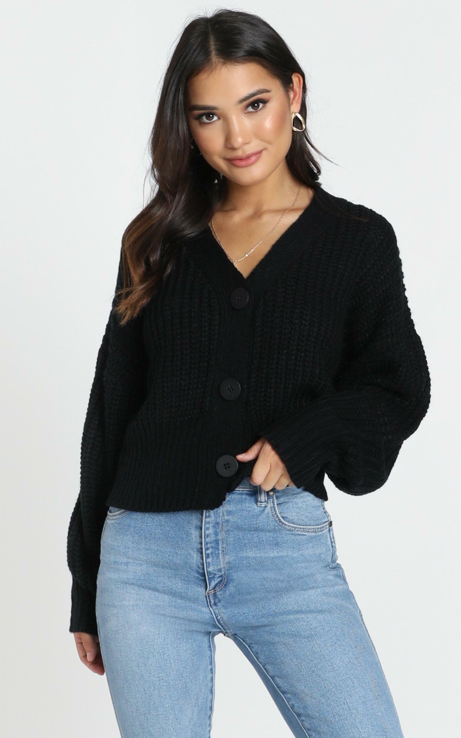 Dakota Knit Cardigan in black - 12 (L), Black, hi-res image number null