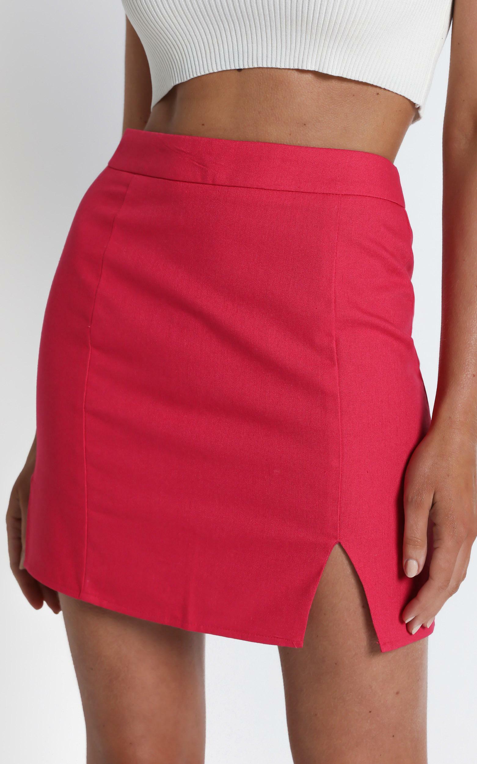 International Babe Skirt in Hot Pink Linen Look - 04, PNK5, hi-res image number null