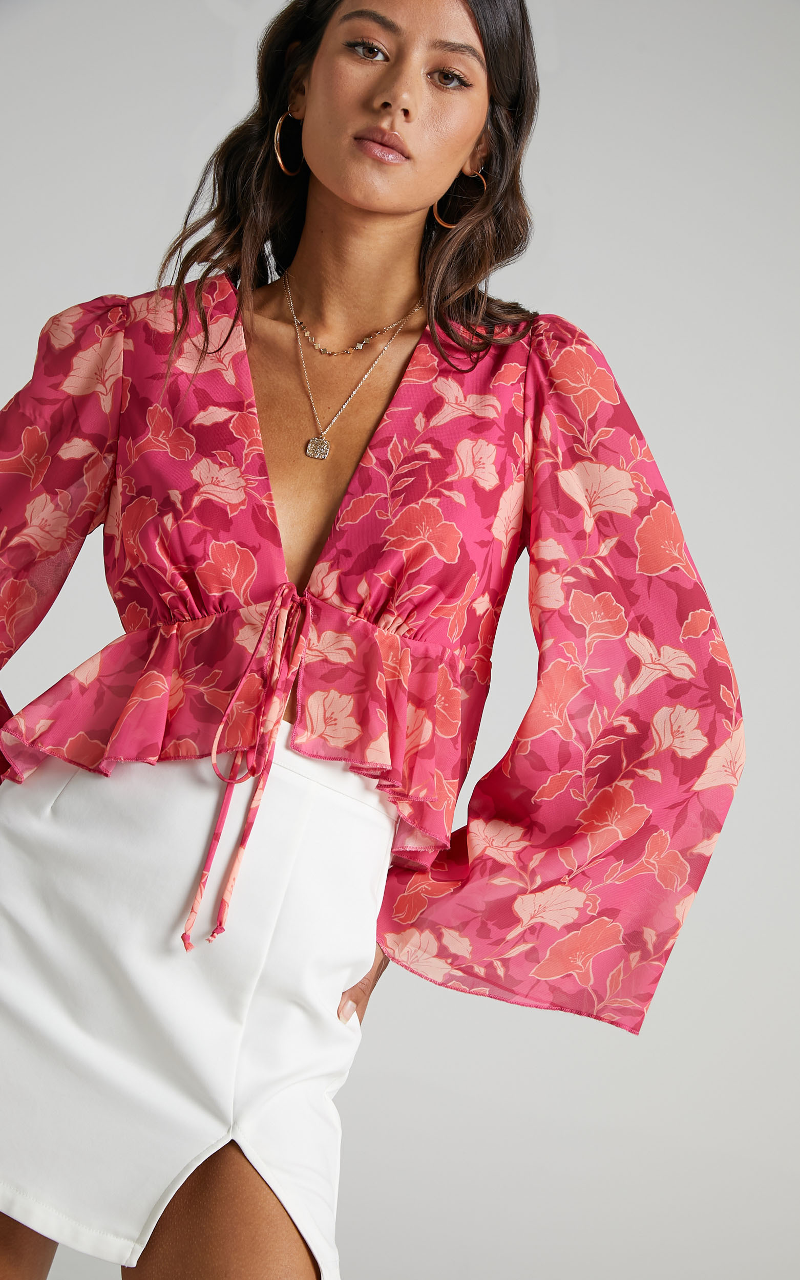 Dance It Out Top in berry floral - 20 (XXXXL), PNK29, hi-res image number null