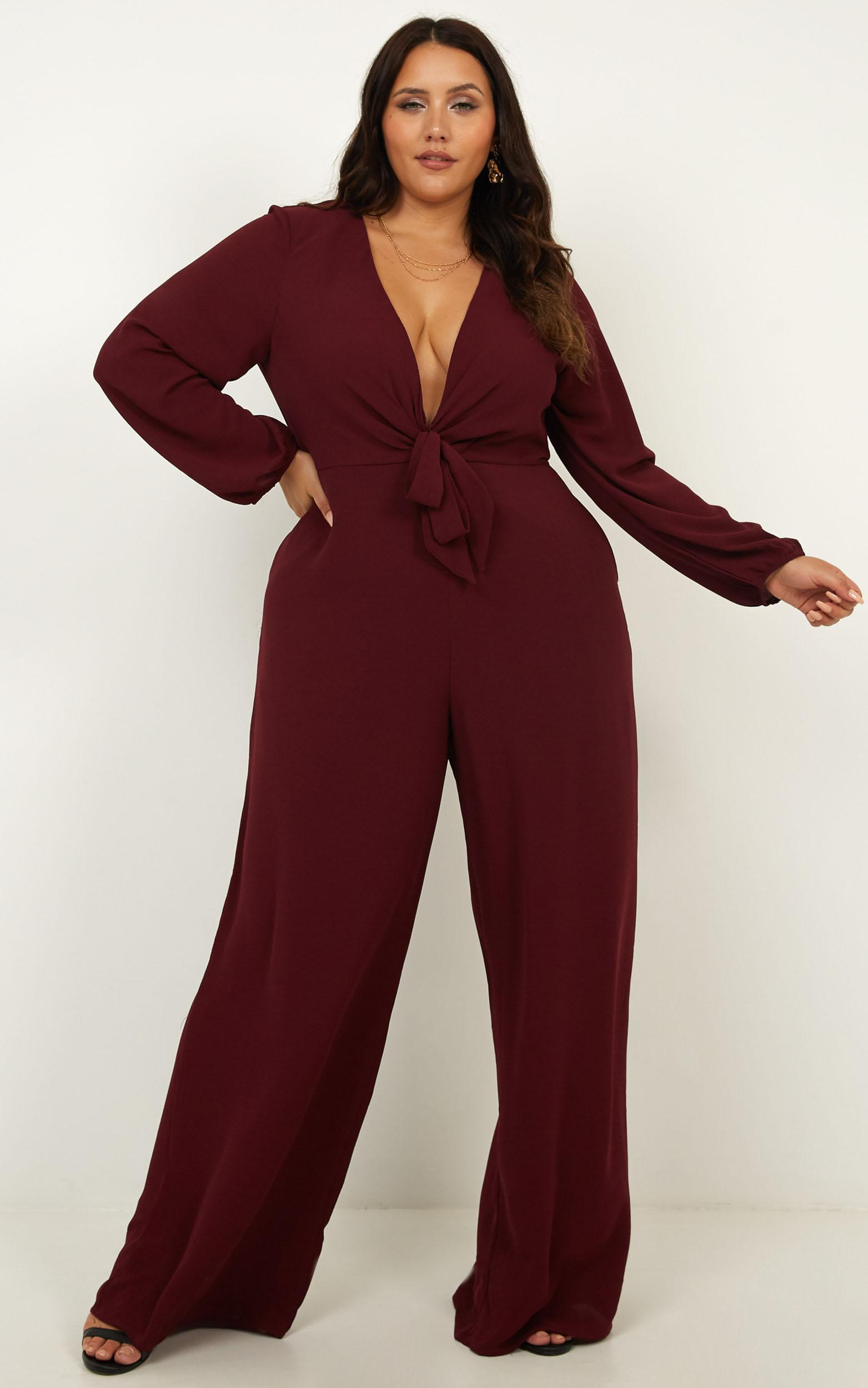 Queens Expectation Jumpsuit in wine - 12 (L), Wine, hi-res image number null