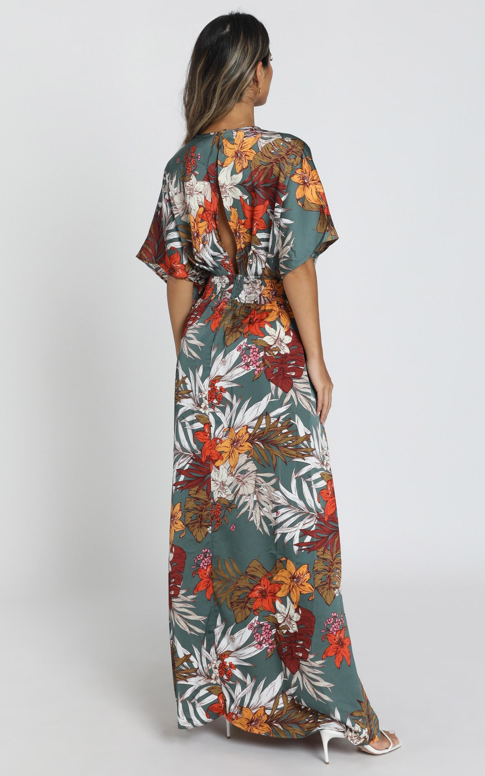 Vacay Ready Maxi Dress in teal floral satin - 20 (XXXXL), Blue, hi-res image number null
