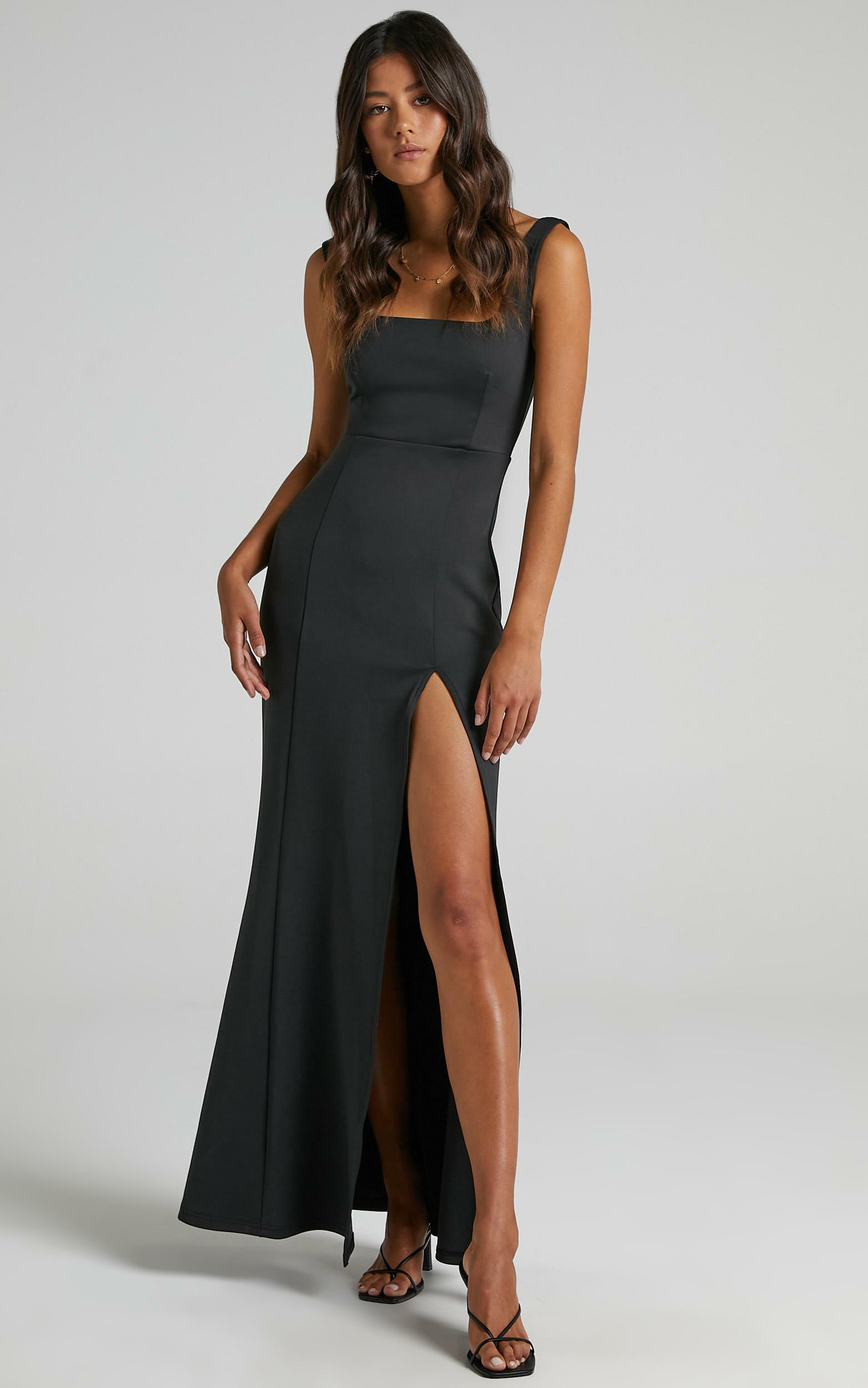 Raquelle Square Neck Thigh Split Maxi Dress in Black - 06, BLK1, hi-res image number null